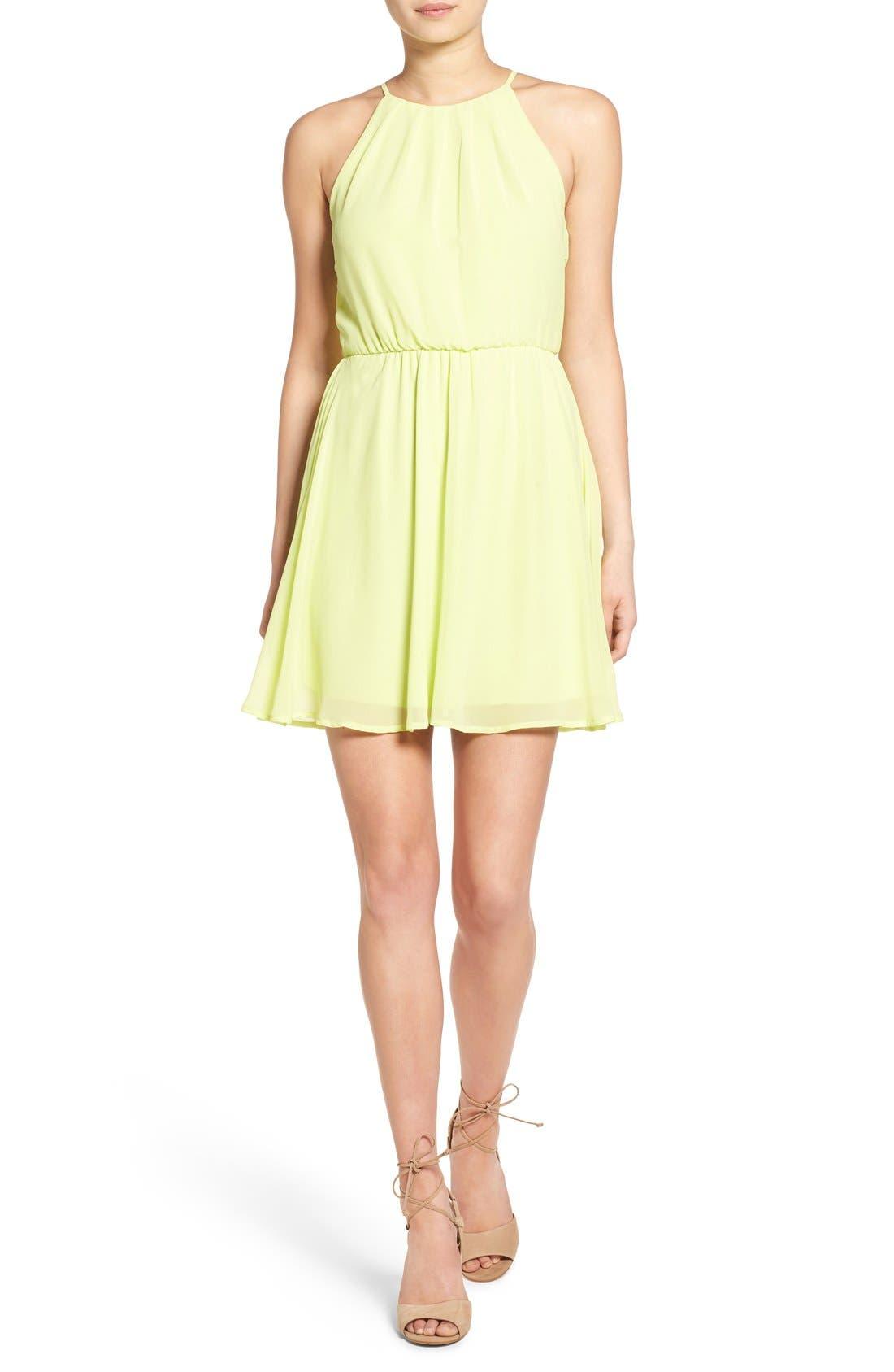 Blouson Chiffon Skater Dress,                             Main thumbnail 55, color,