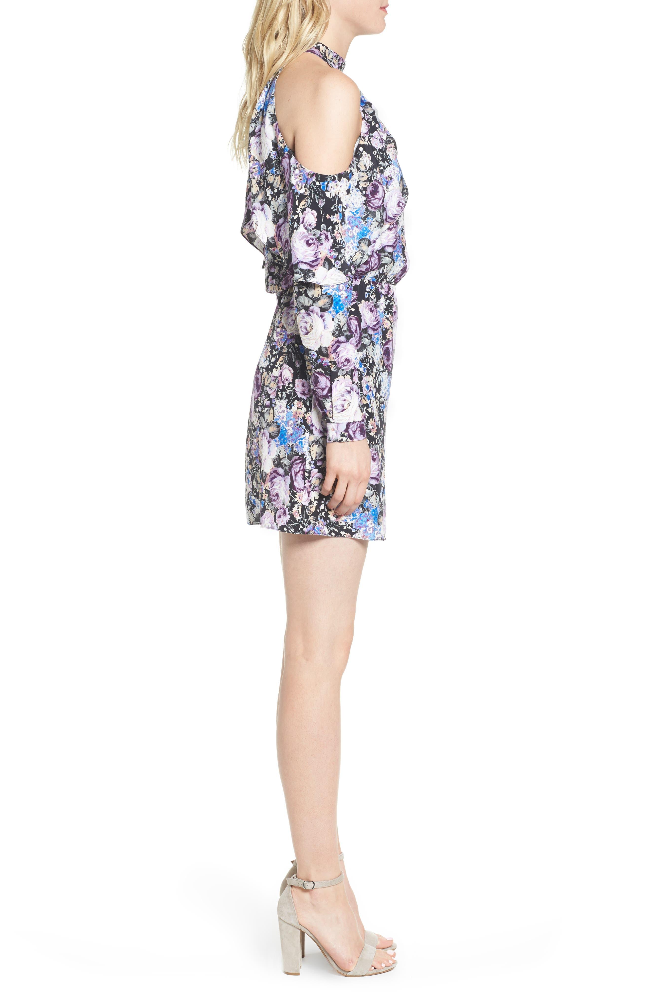 Noemi Cold Shoulder Silk Dress,                             Alternate thumbnail 3, color,                             500
