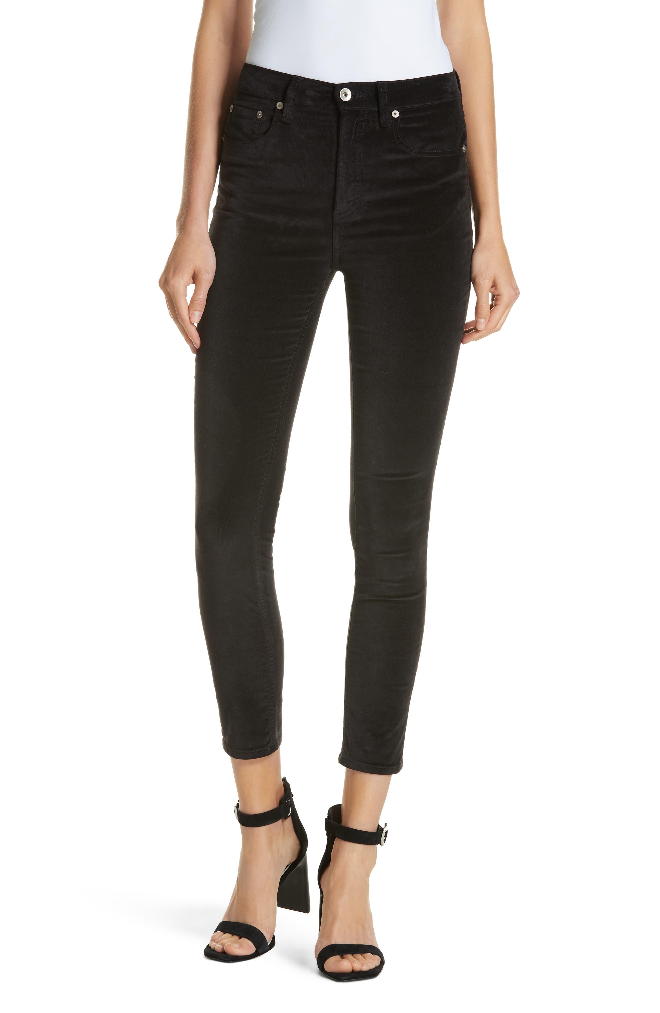 High Waist Velvet Skinny Pants,                             Main thumbnail 1, color,                             BLACK