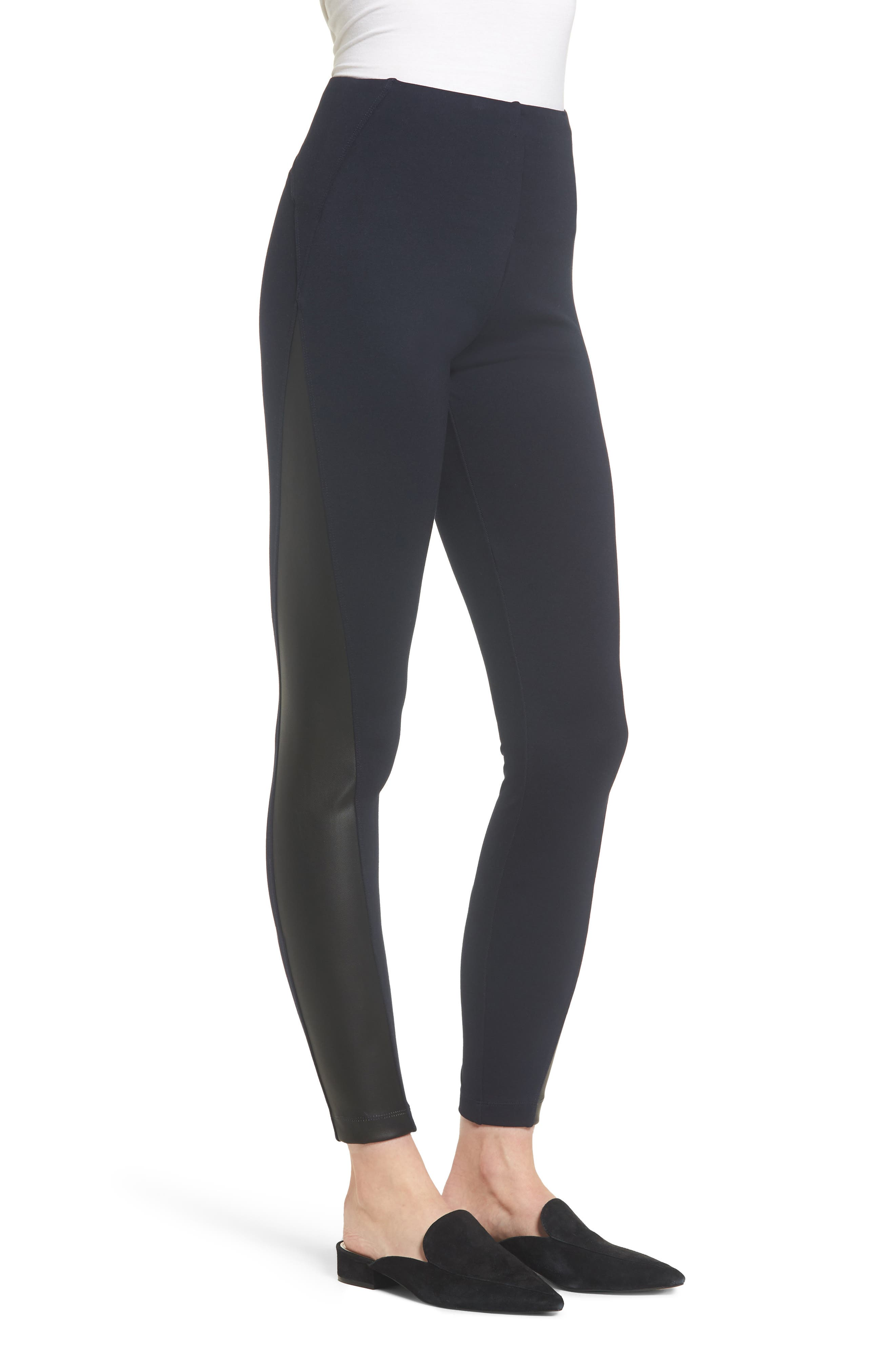 Gemma Faux-Leather Panel Ankle Leggings,                             Alternate thumbnail 3, color,                             MIDNIGHT