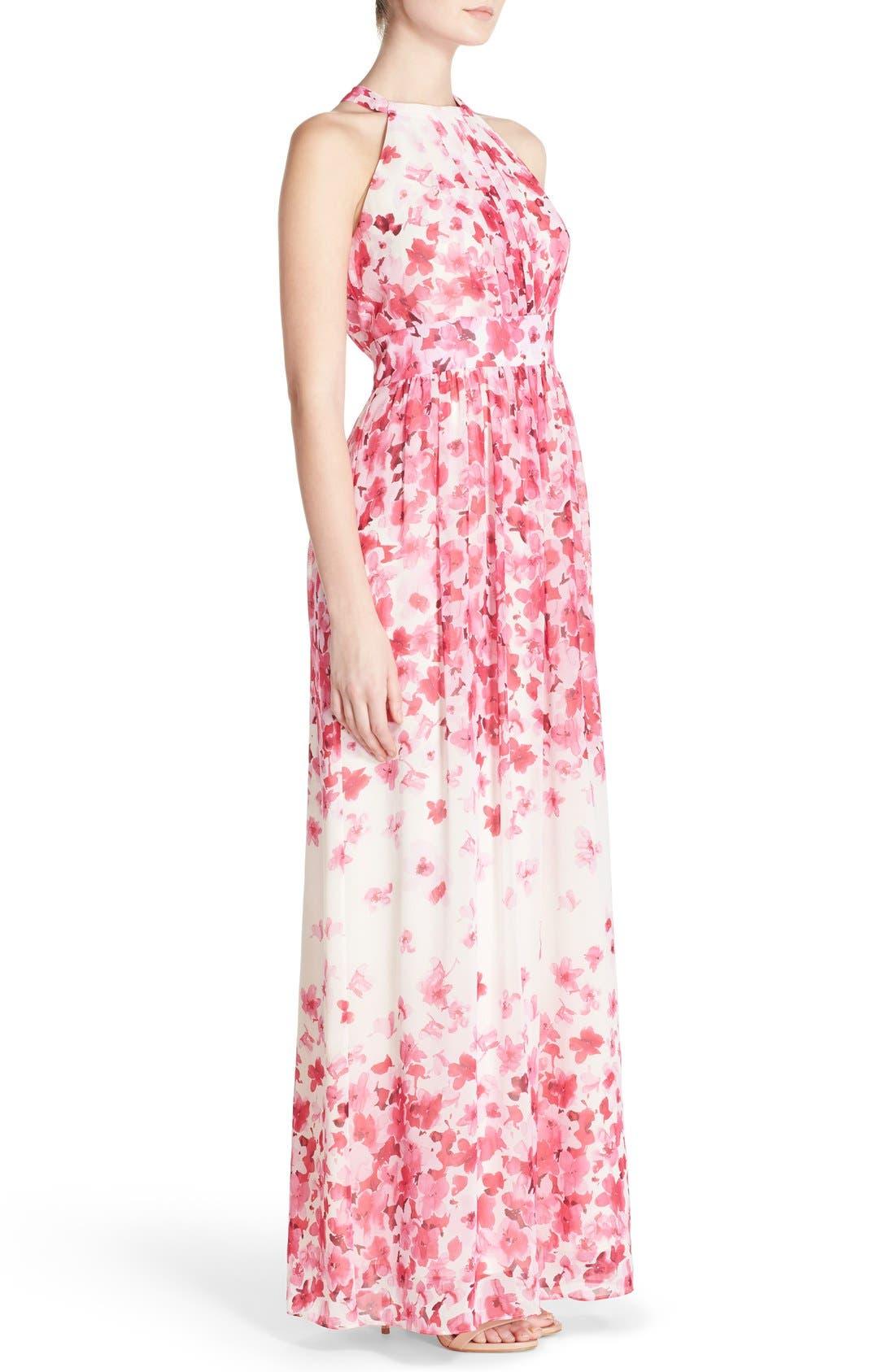 Print Pleated Chiffon Maxi Dress,                             Alternate thumbnail 6, color,                             660