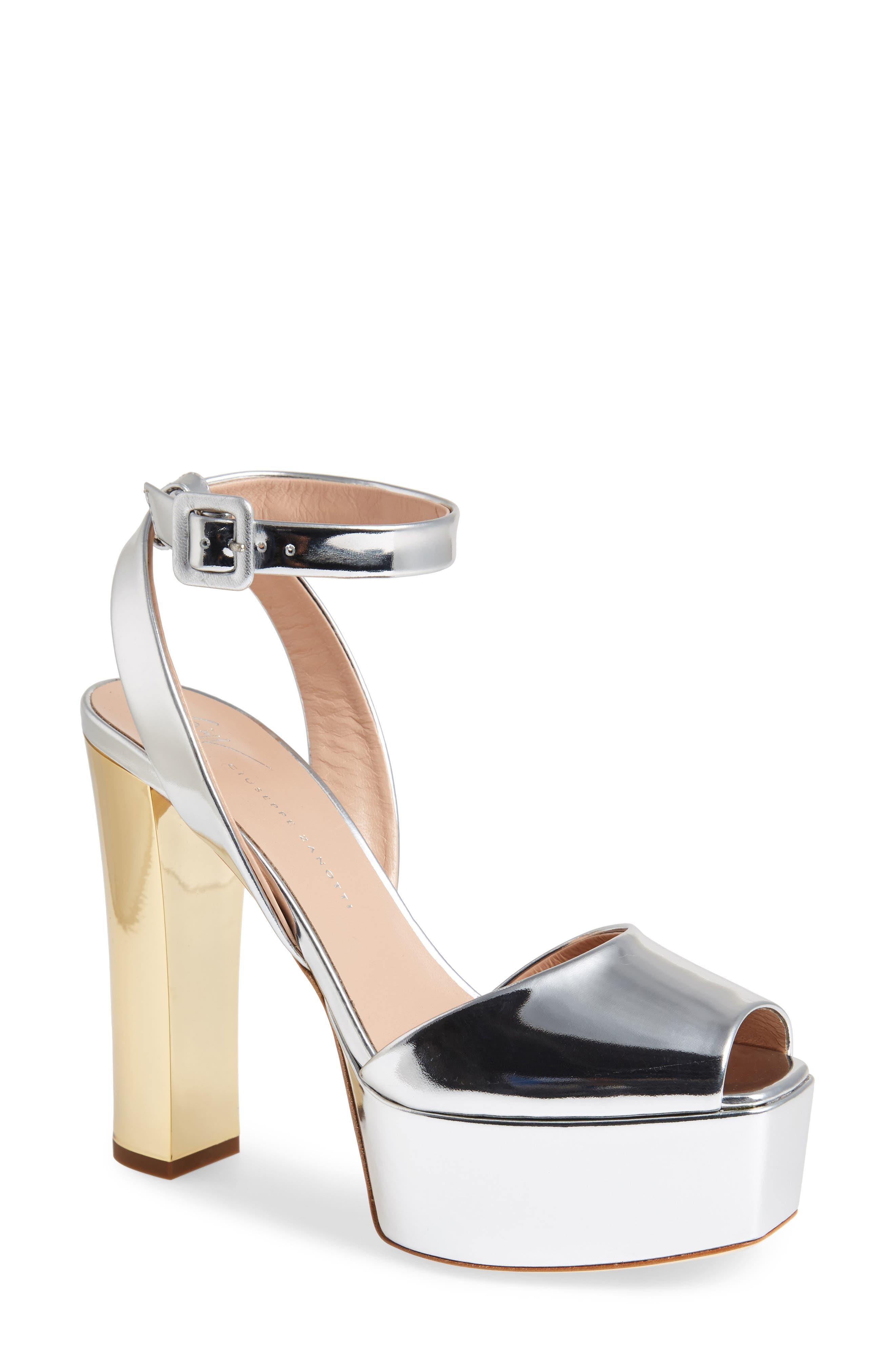 Lavinia Platform Sandal,                         Main,                         color, SILVER