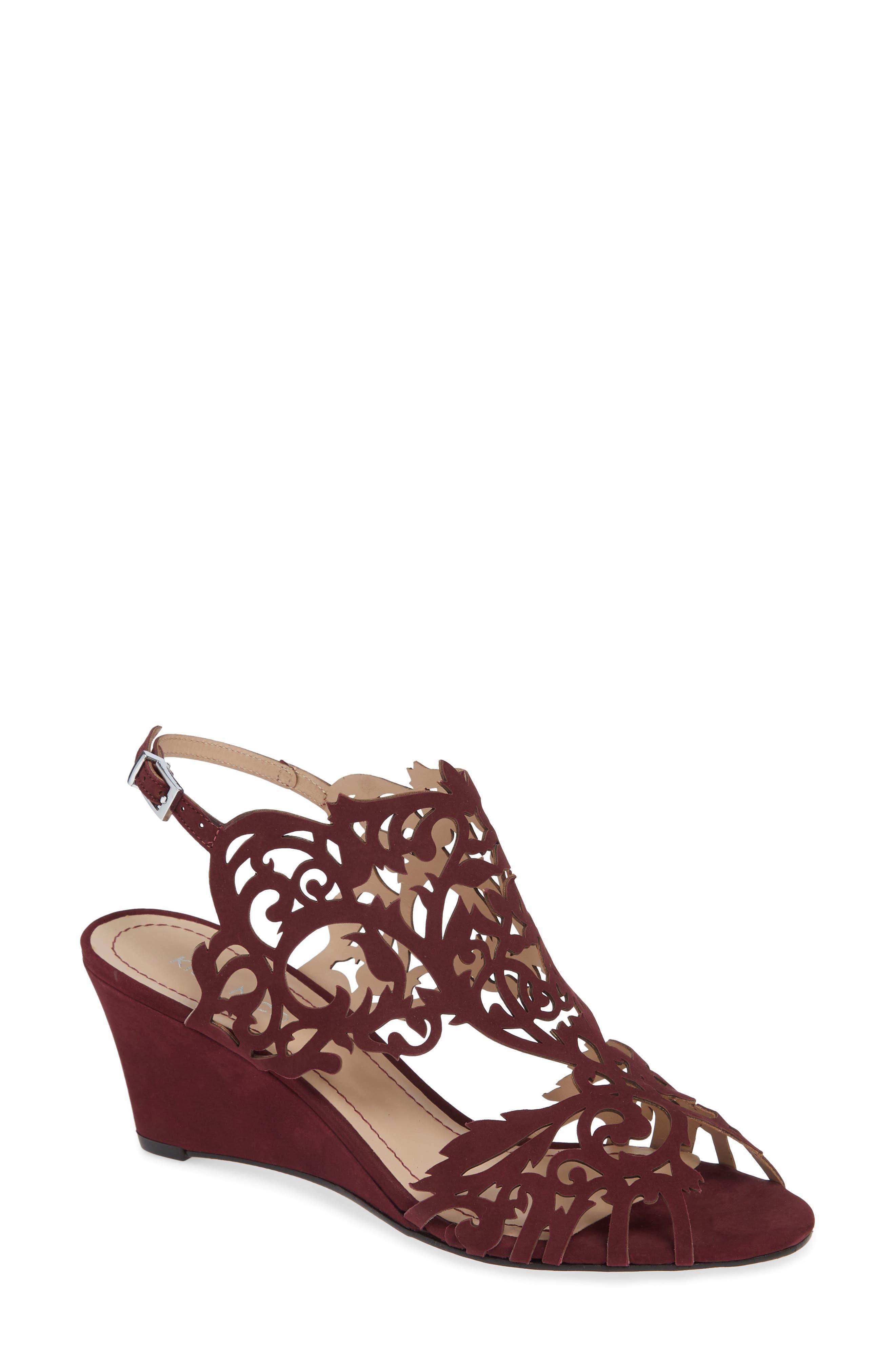 Marcela Laser Cutout Wedge Sandal,                         Main,                         color, WINE LEATHER