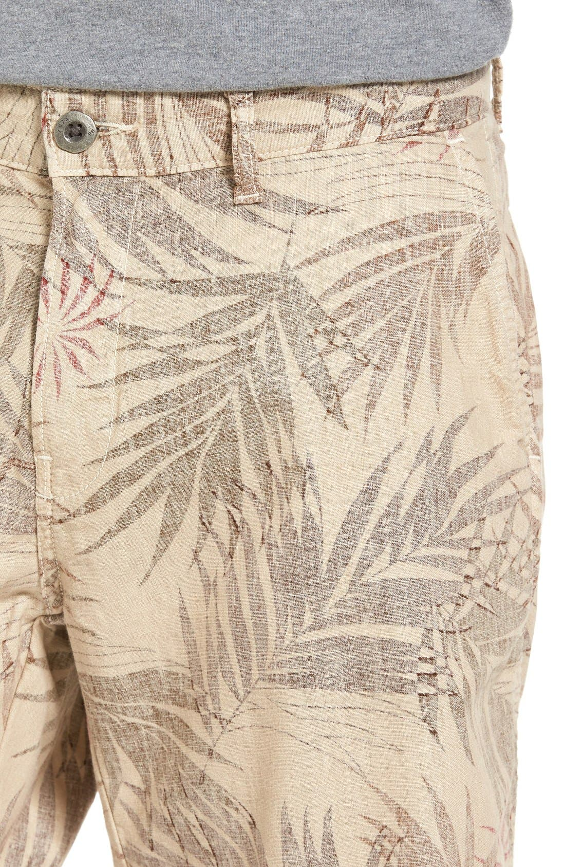 Havana Print Linen Shorts,                             Alternate thumbnail 3, color,                             280