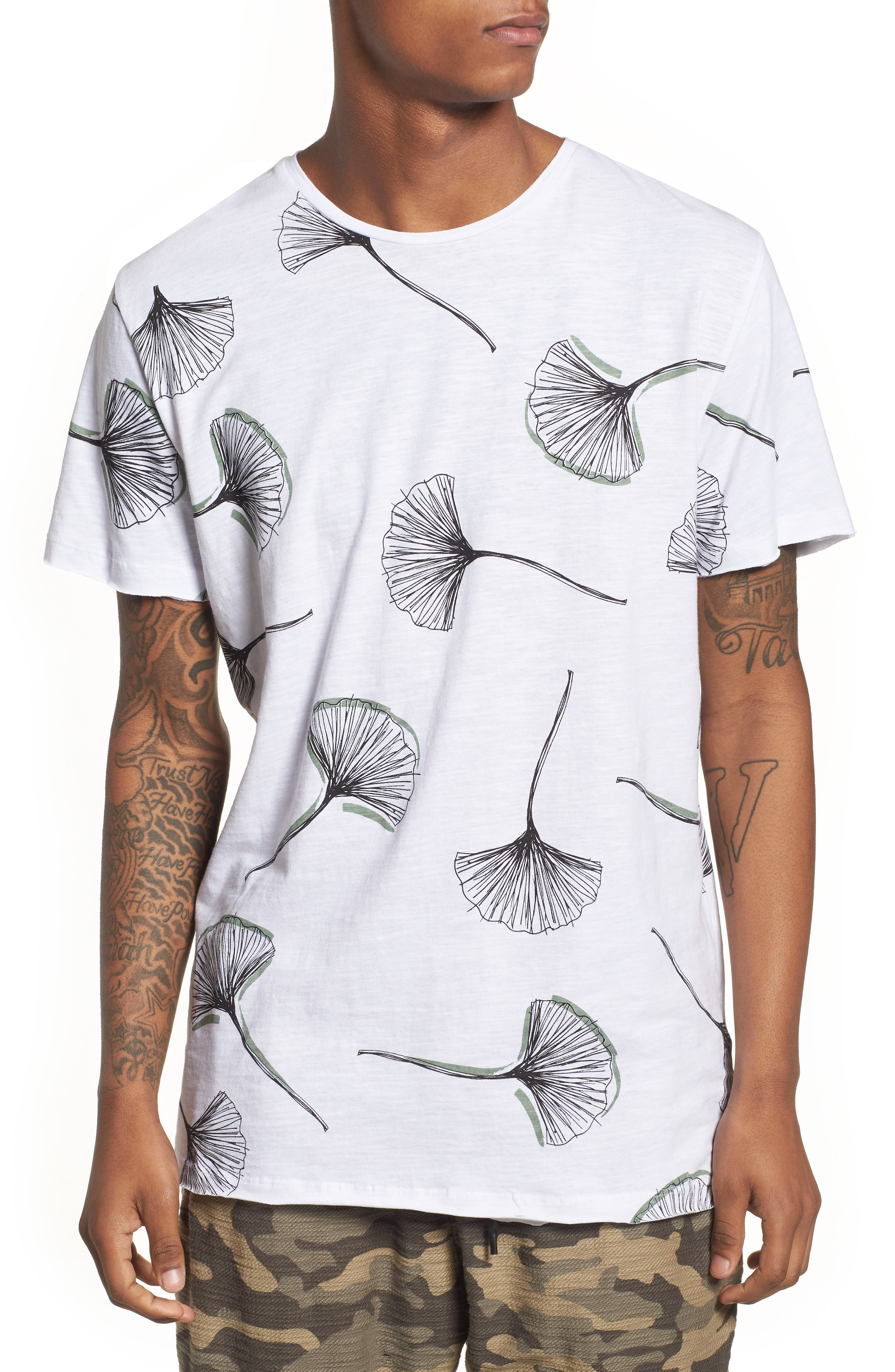 Allover Print T-Shirt,                         Main,                         color, WHITE
