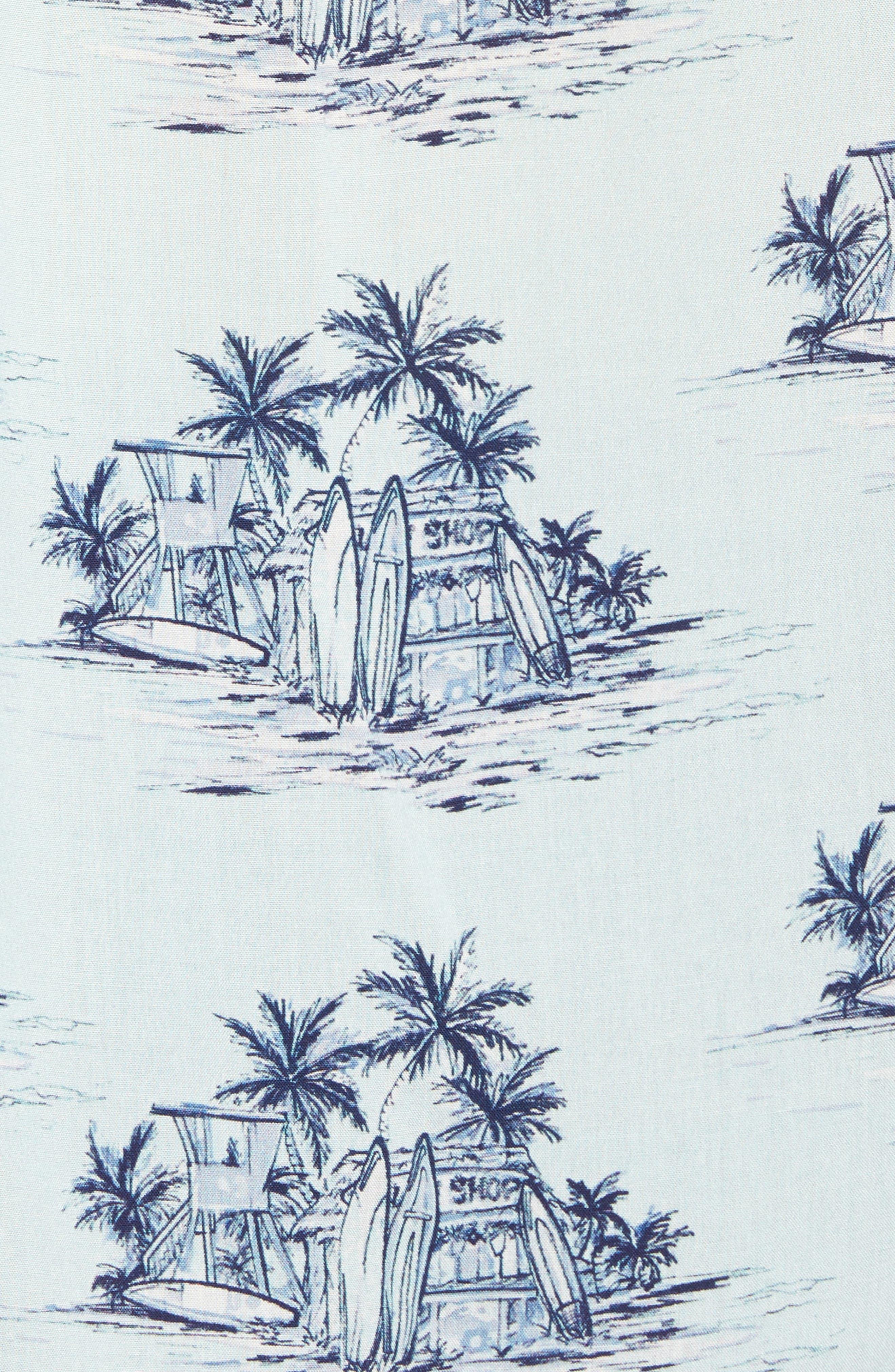 Tonal Hawaiian Print Camp Shirt,                             Alternate thumbnail 5, color,                             100