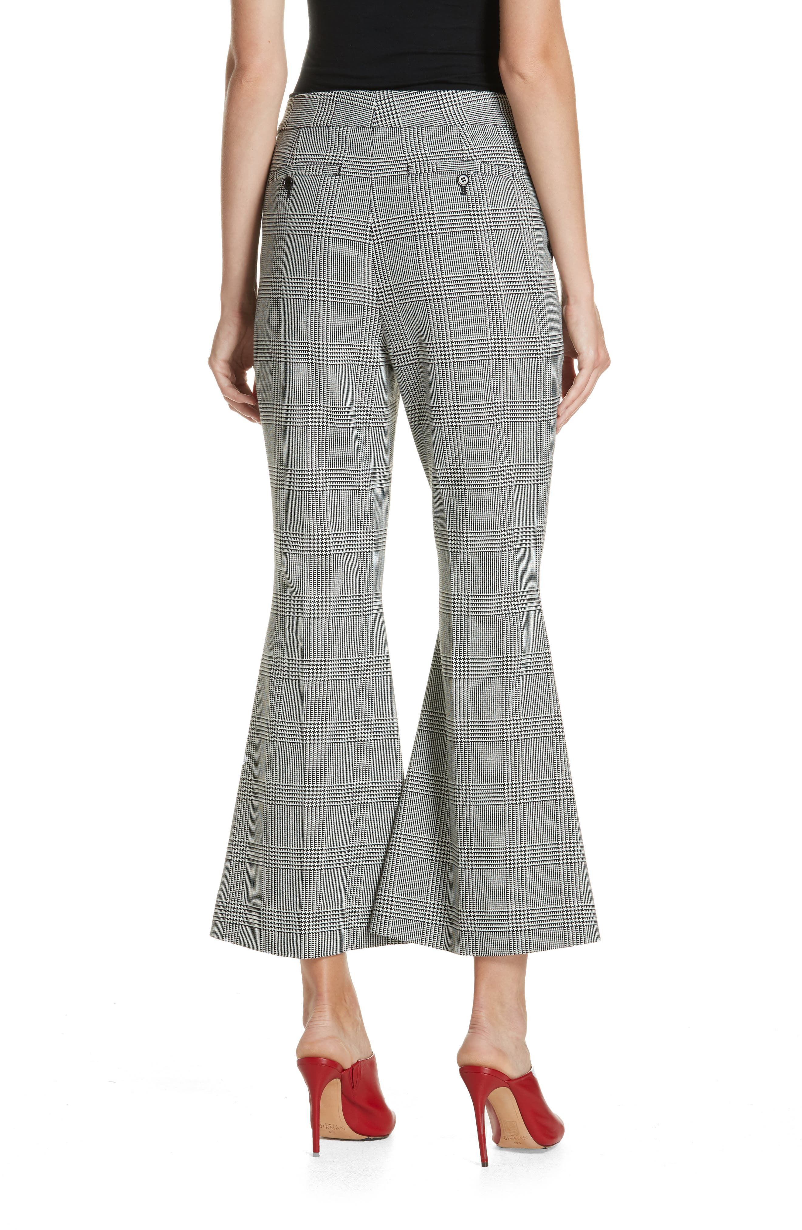 Checked Crop Flare Trousers,                             Alternate thumbnail 2, color,                             BLACK/ WHITE