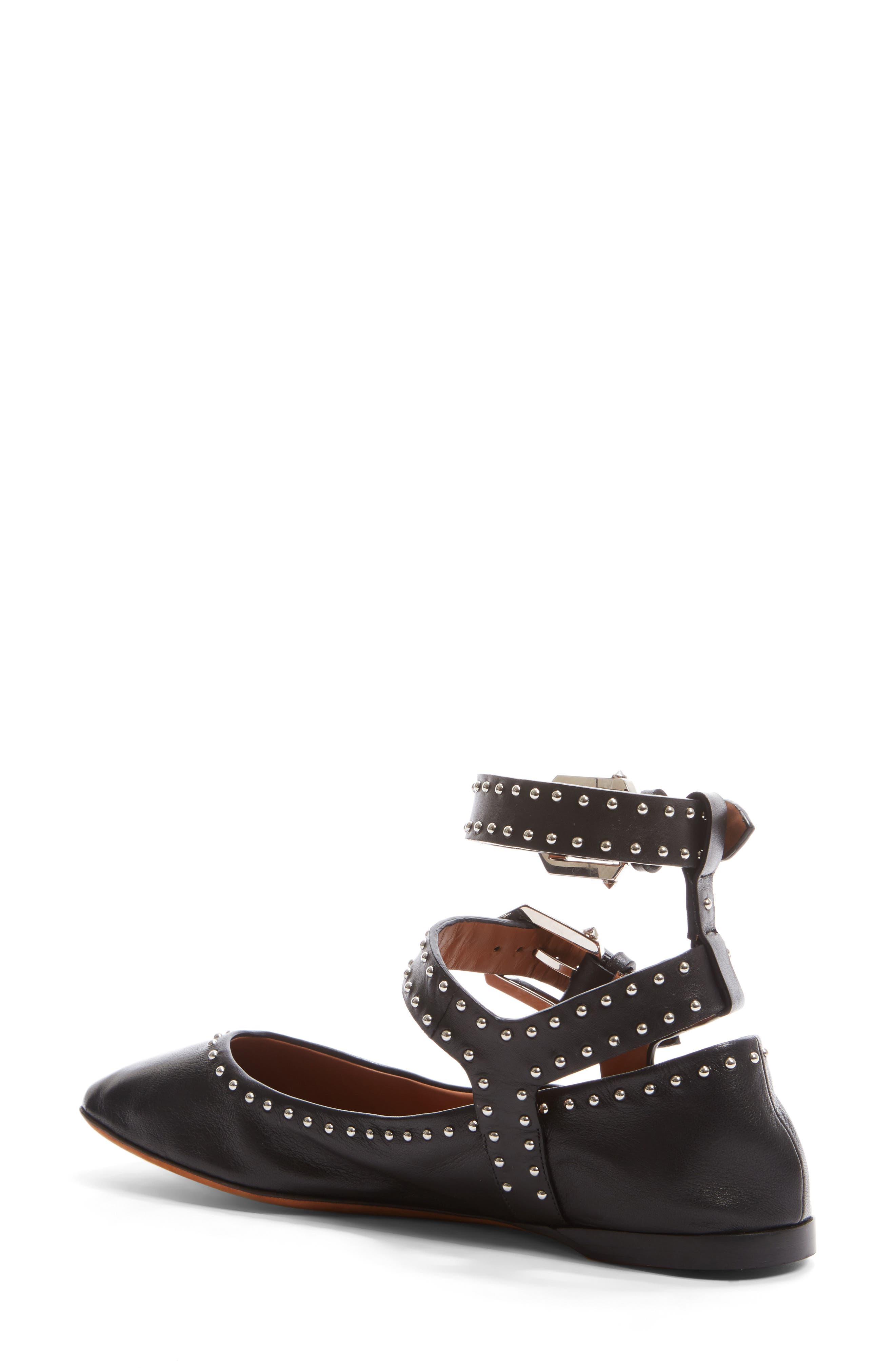 Studded Ankle Strap Flat,                             Alternate thumbnail 2, color,