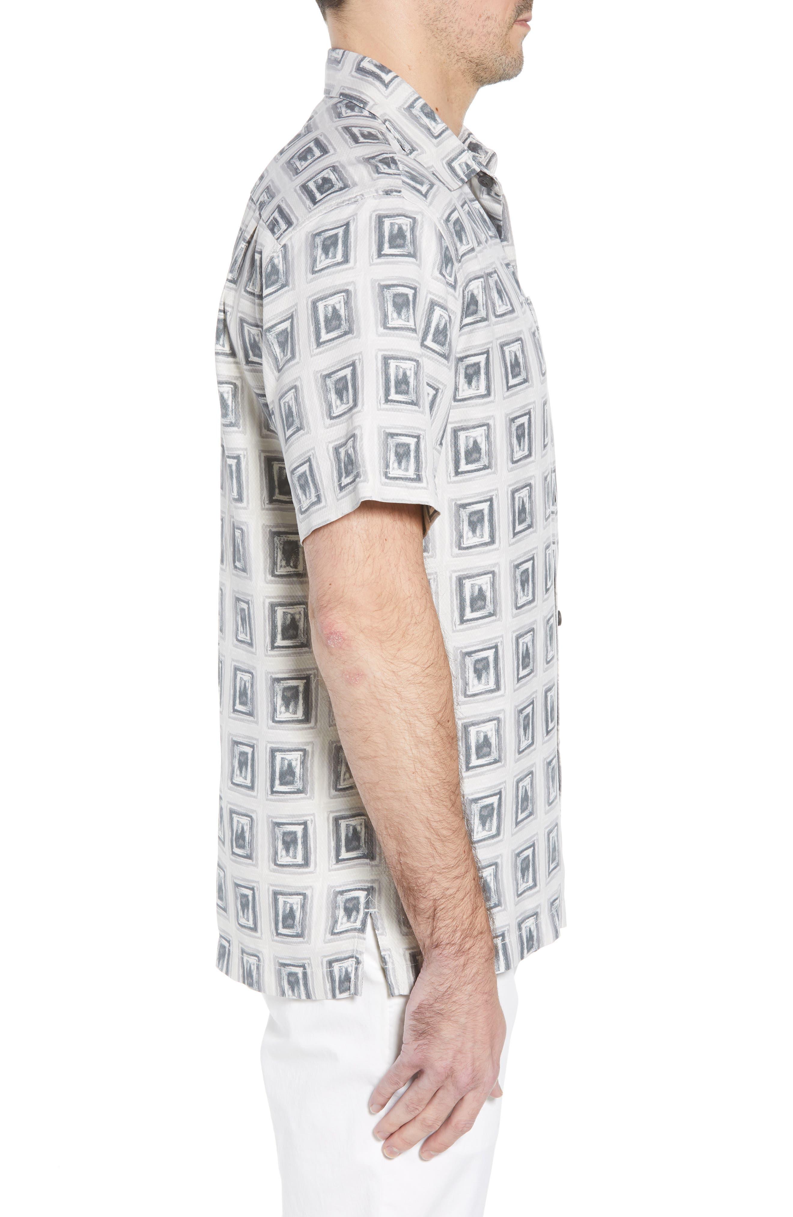 Casa de Quatro Silk Camp Shirt,                             Alternate thumbnail 3, color,                             FOGGY DEW