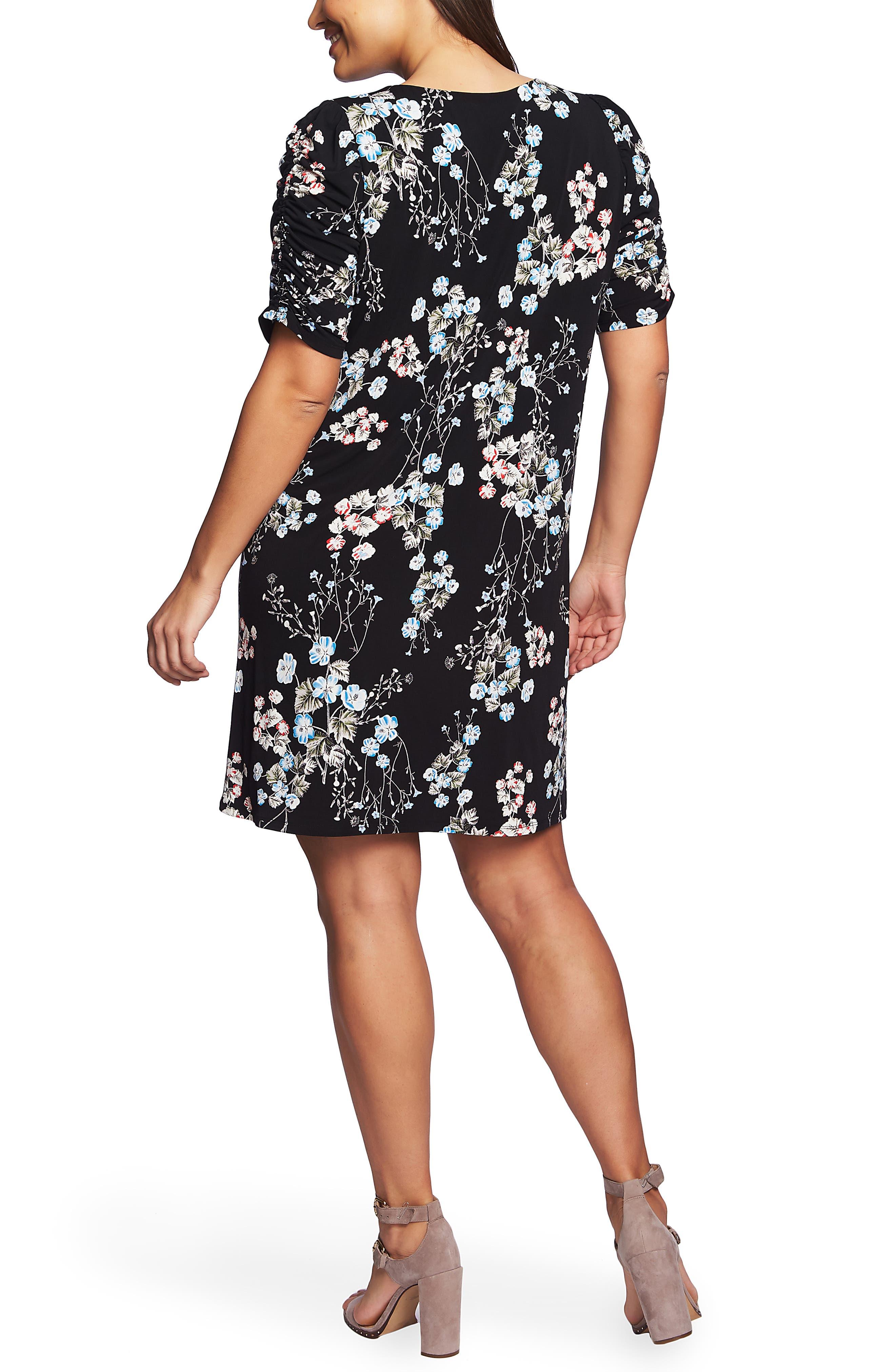 CECE,                             Divine Floral Ruched Sleeve Dress,                             Alternate thumbnail 2, color,                             RICH BLACK