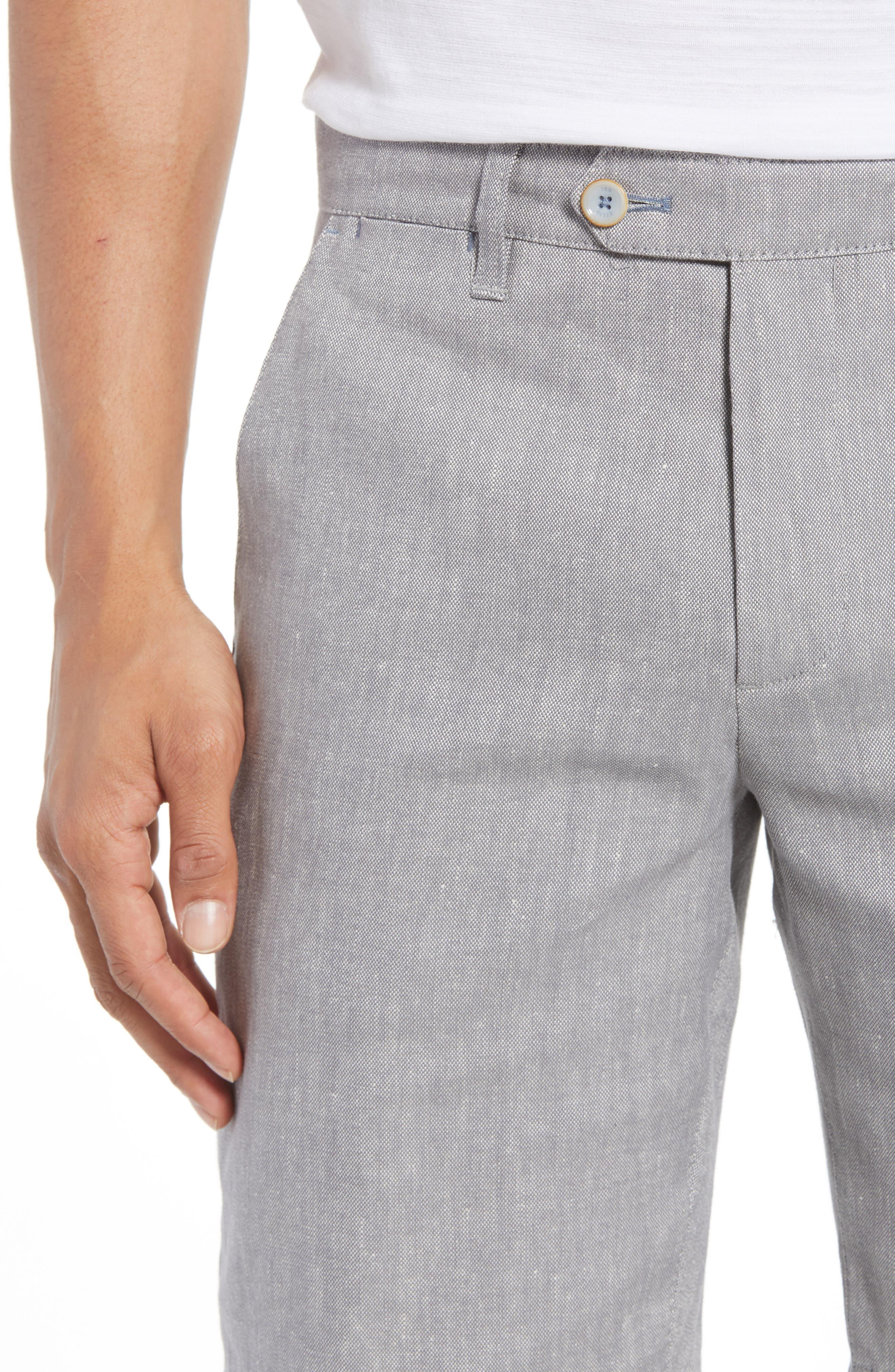 Newshow Flat Front Stretch Cotton Blend Shorts,                             Alternate thumbnail 4, color,                             GREY