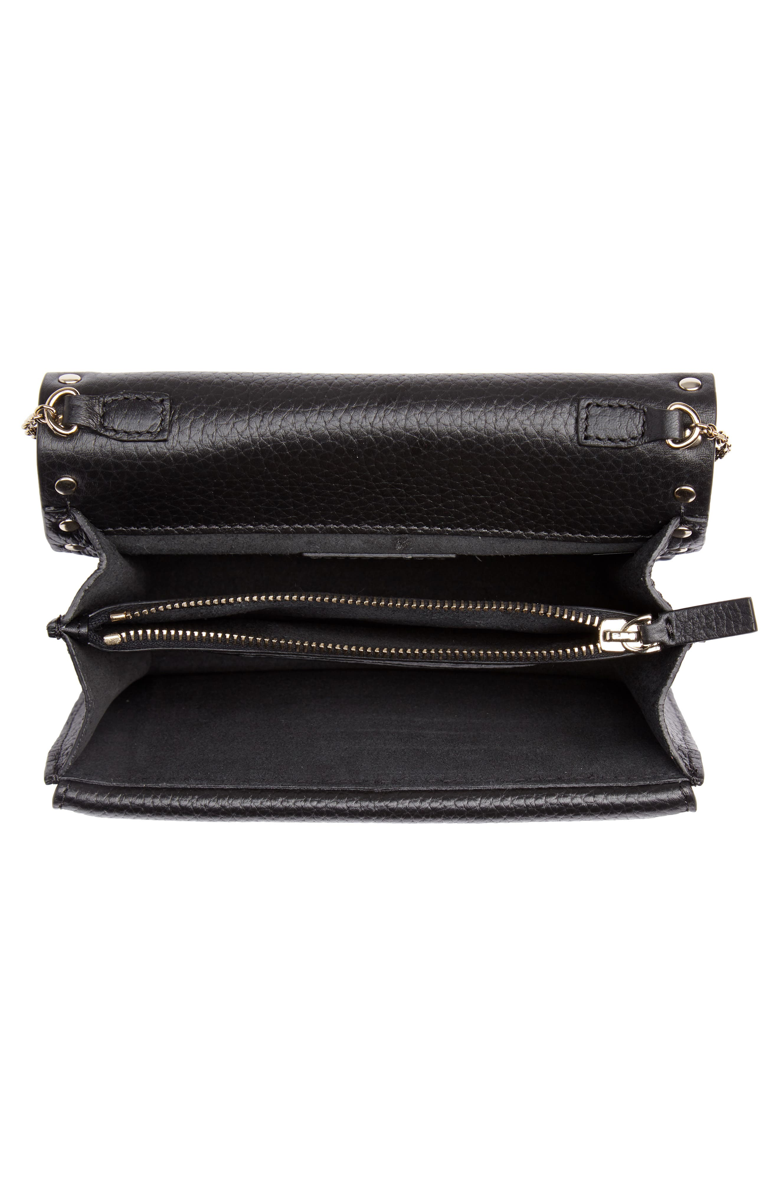 Rockstud Leather Pouch Wallet on a Chain,                             Alternate thumbnail 4, color,                             NERO