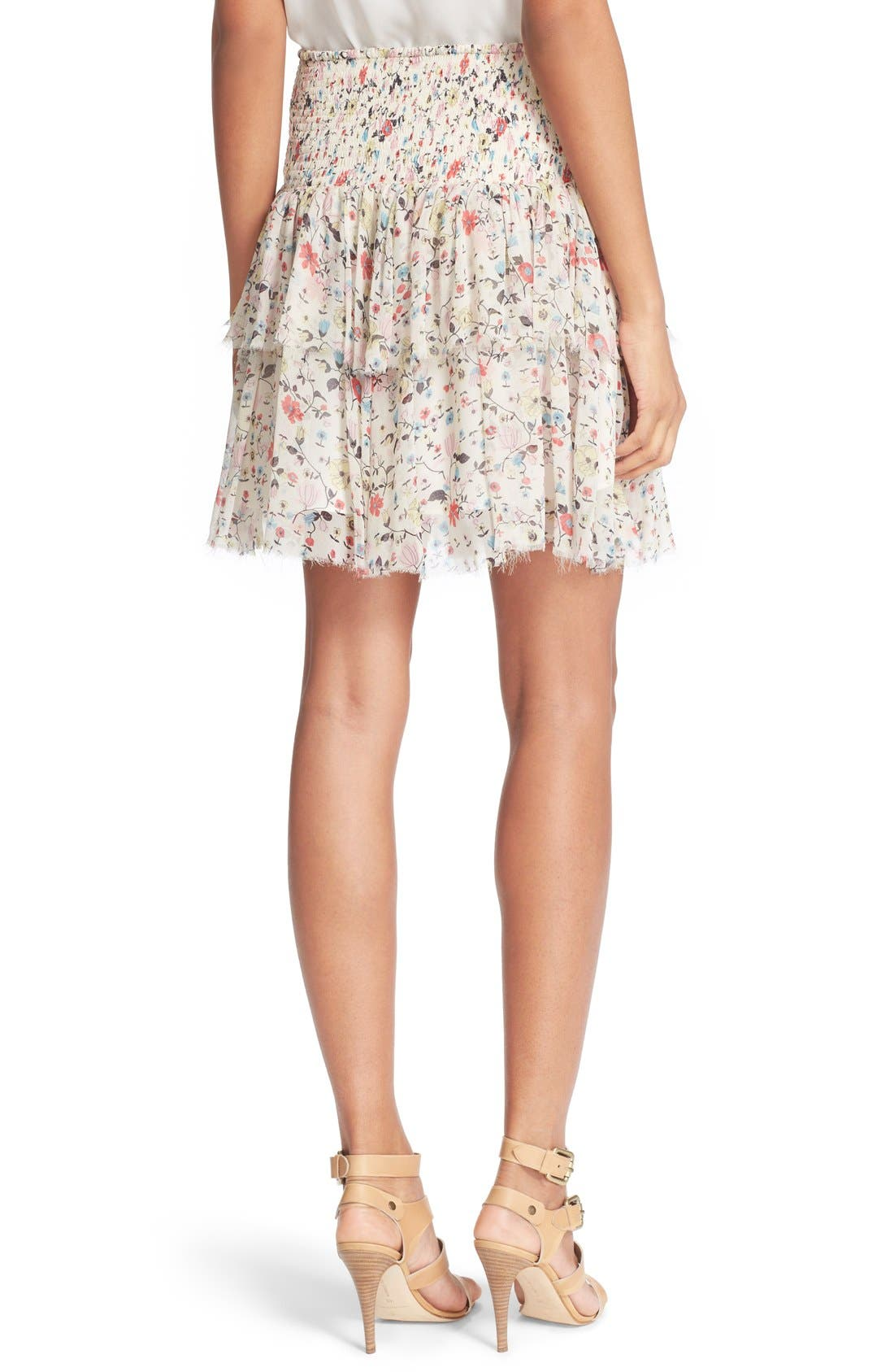 'Tapestry Grid' Floral Print Silk Skirt,                             Alternate thumbnail 5, color,                             134
