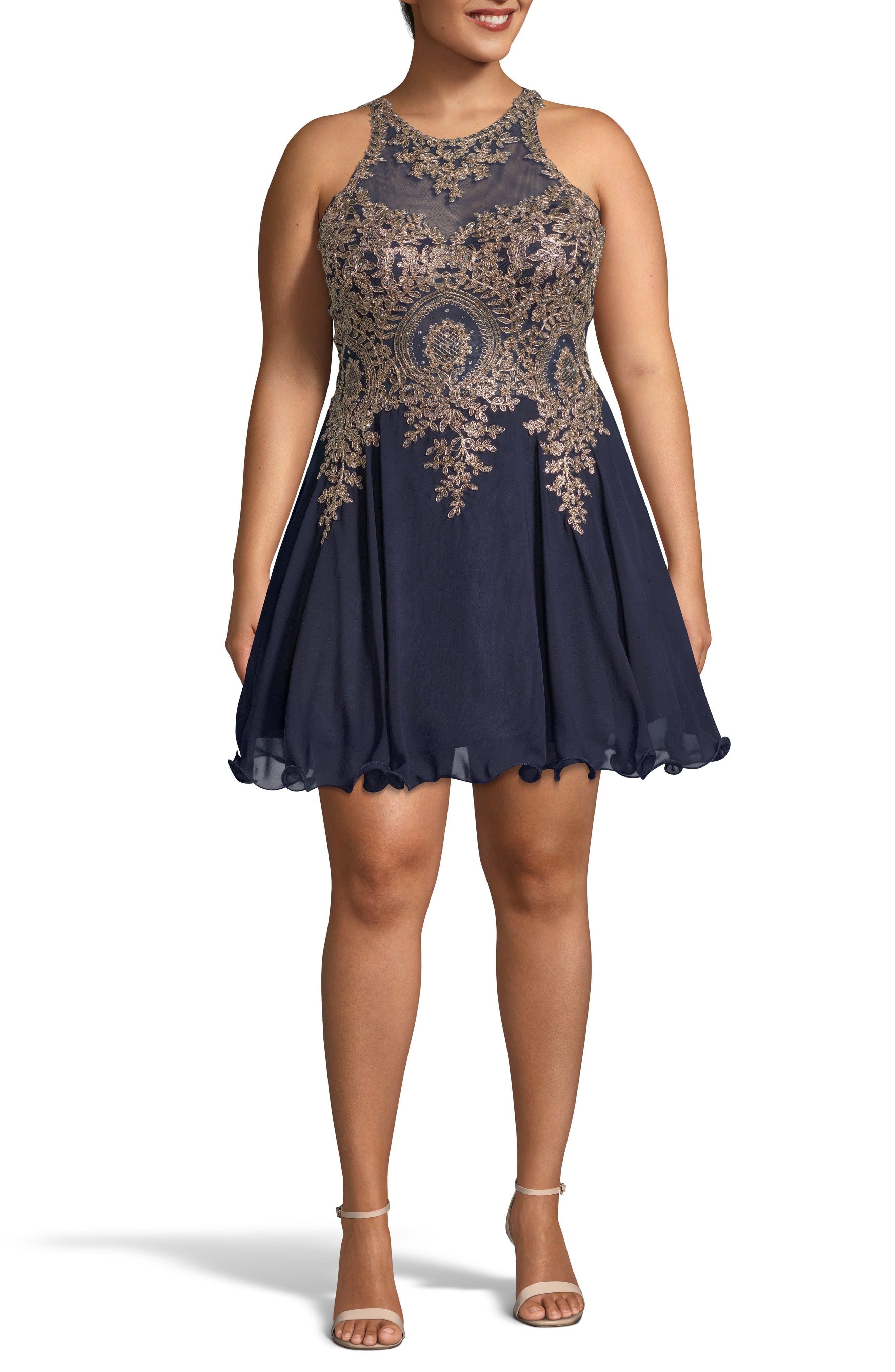 Plus Size Xscape Embellished Merrow Hem Party Dress, Blue