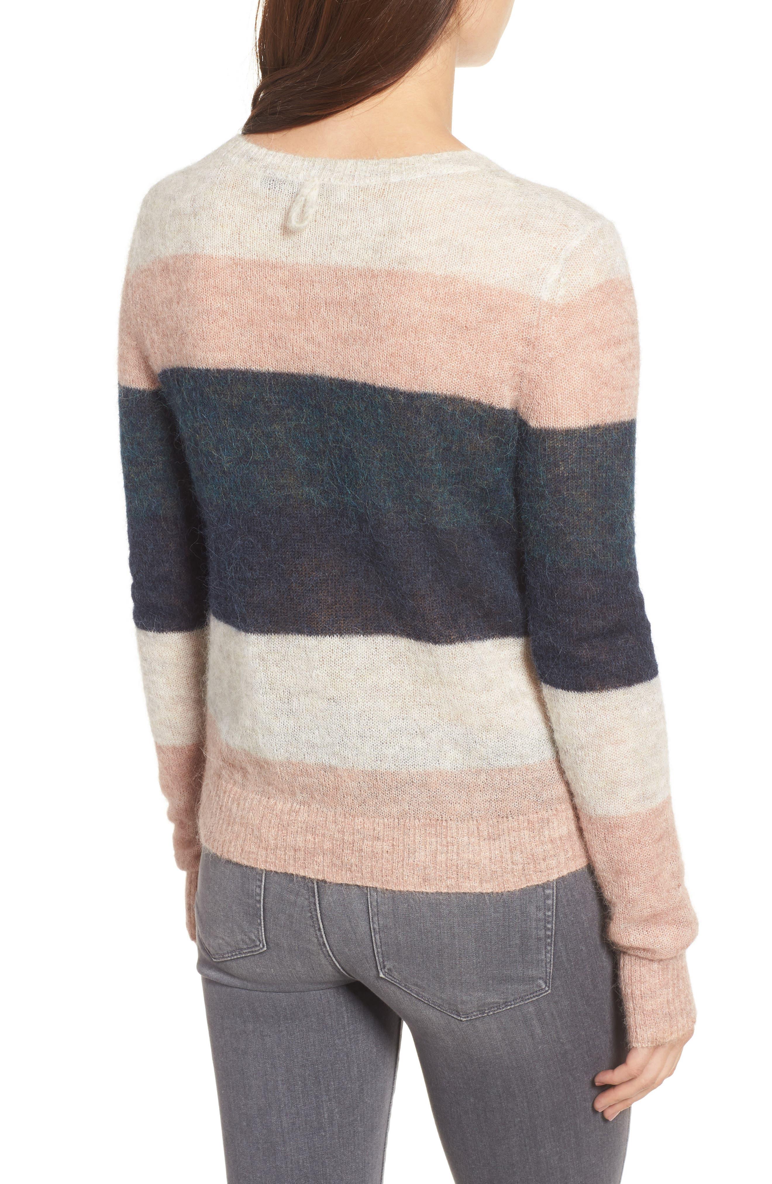 Stripe Alpaca Blend Sweater,                             Alternate thumbnail 3, color,