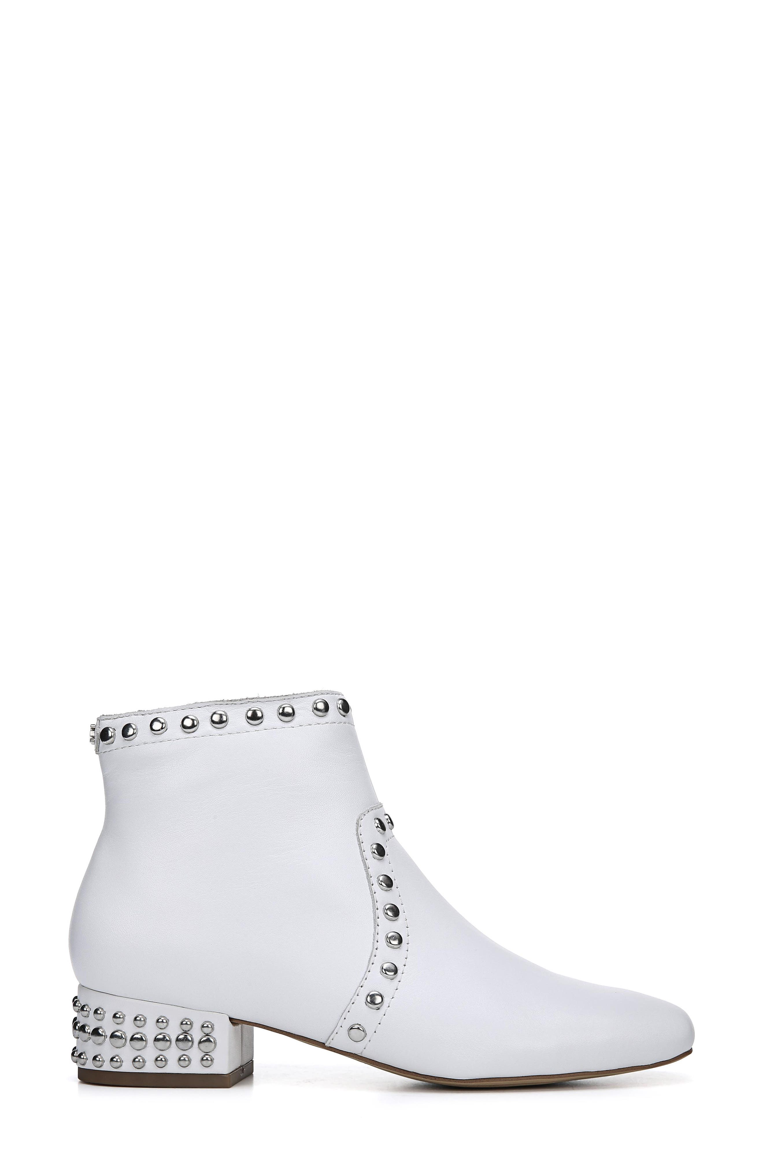 Lorin Studded Bootie,                             Alternate thumbnail 3, color,                             WHITE LEATHER