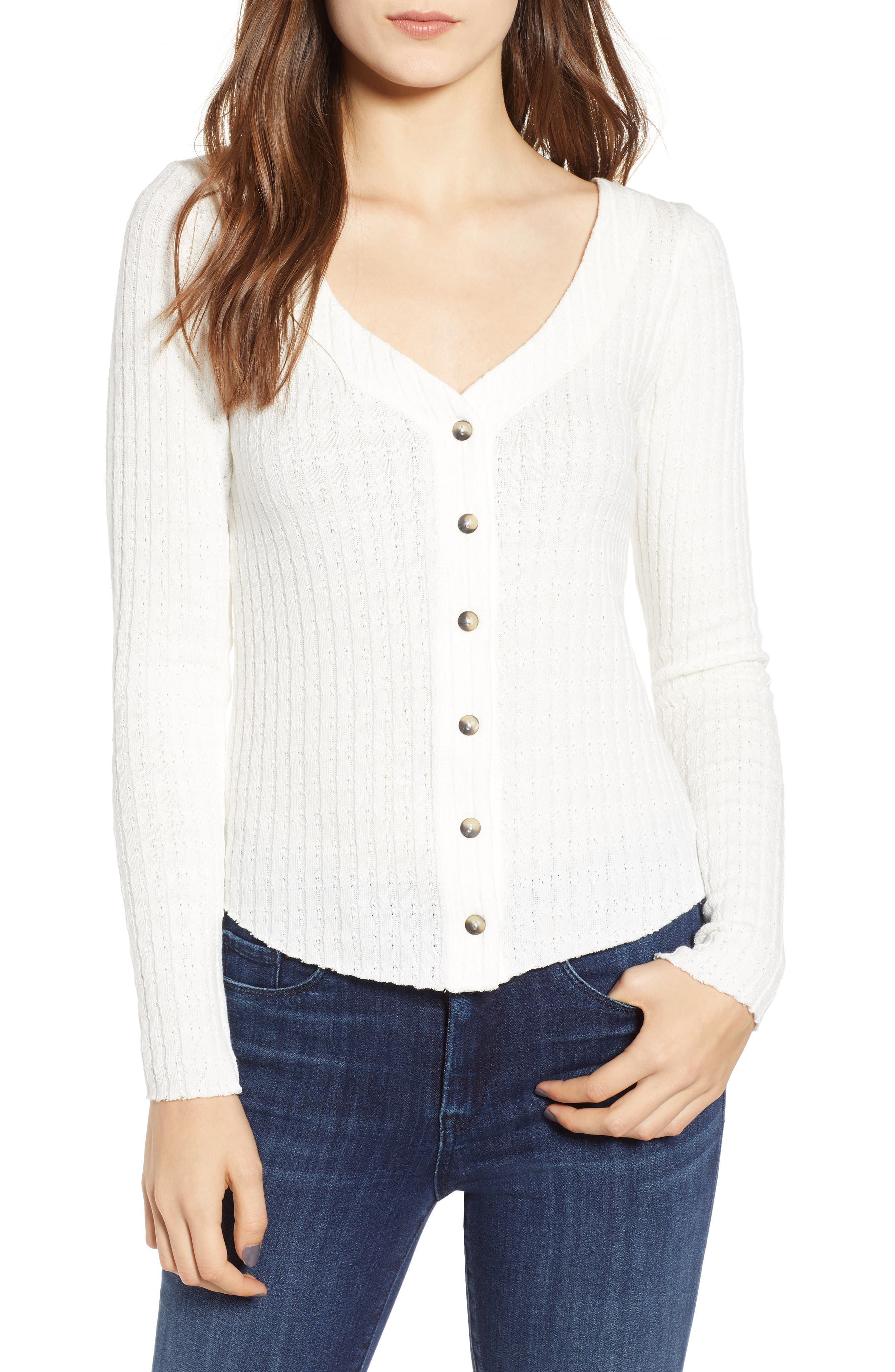 PROJECT SOCIAL T Lotta Love Button Front Top in Ivory