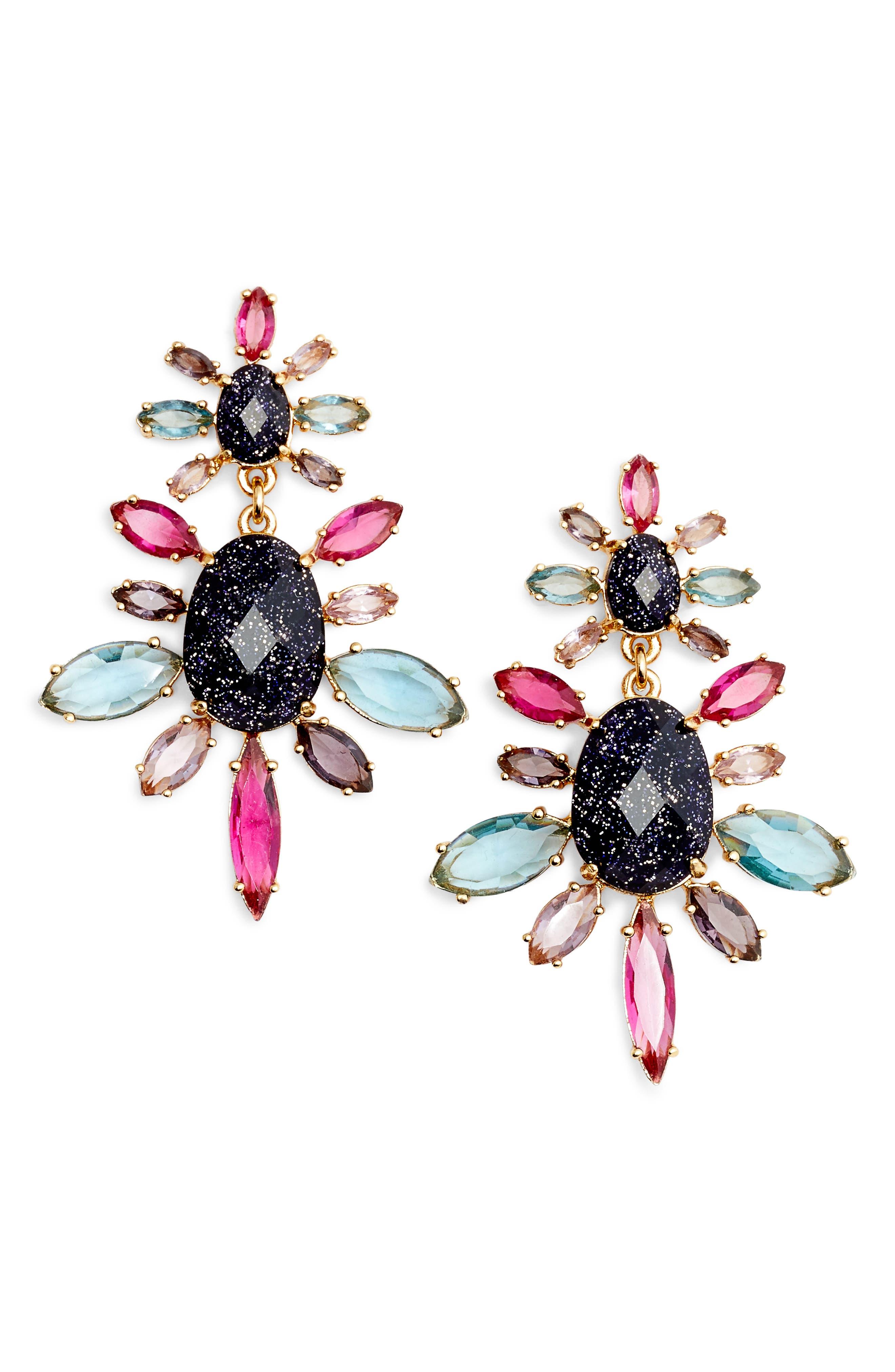 night sky double drop earrings,                             Main thumbnail 1, color,                             500
