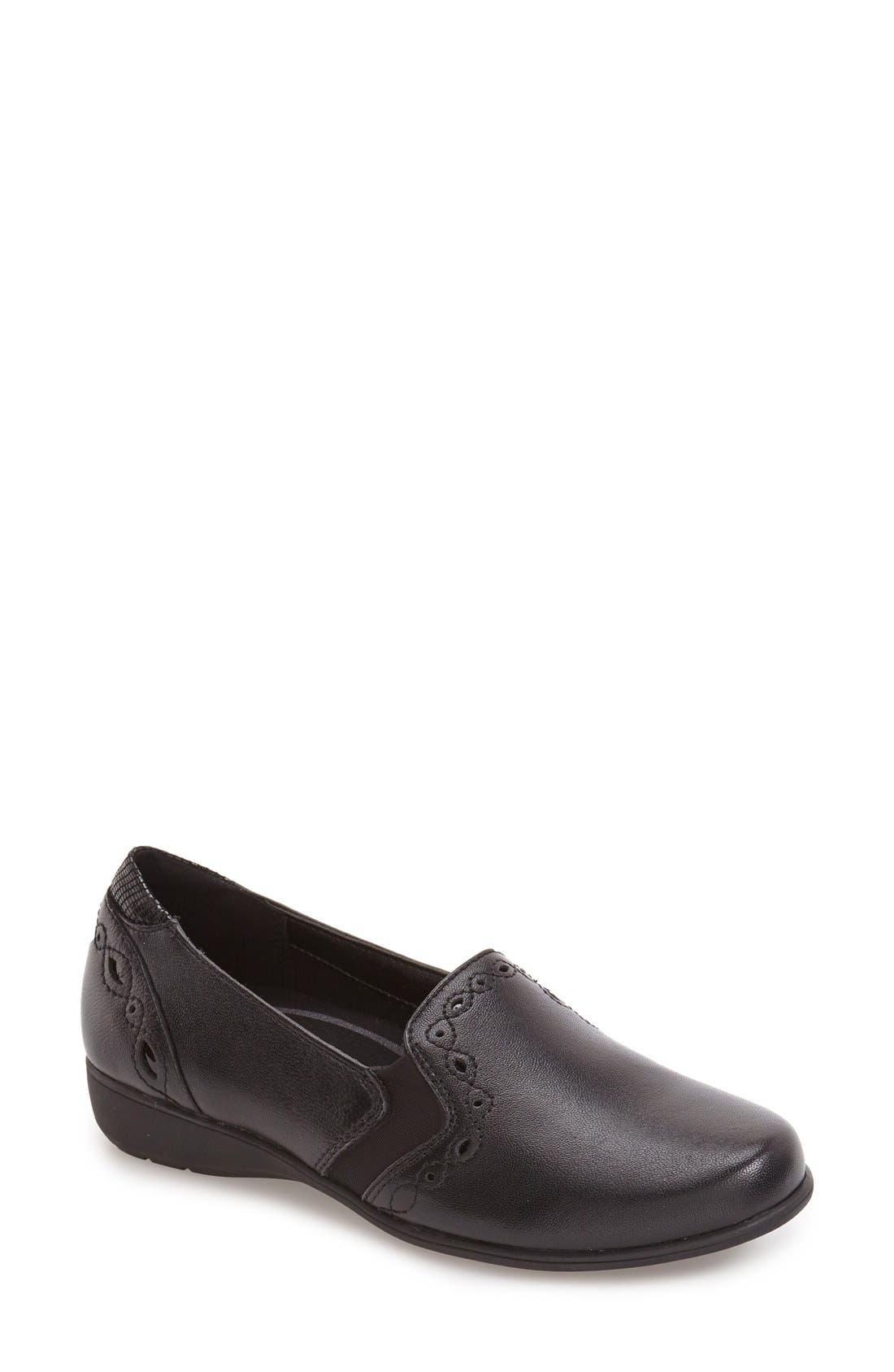 'Adalyn' Loafer,                         Main,                         color, BLACK LEATHER