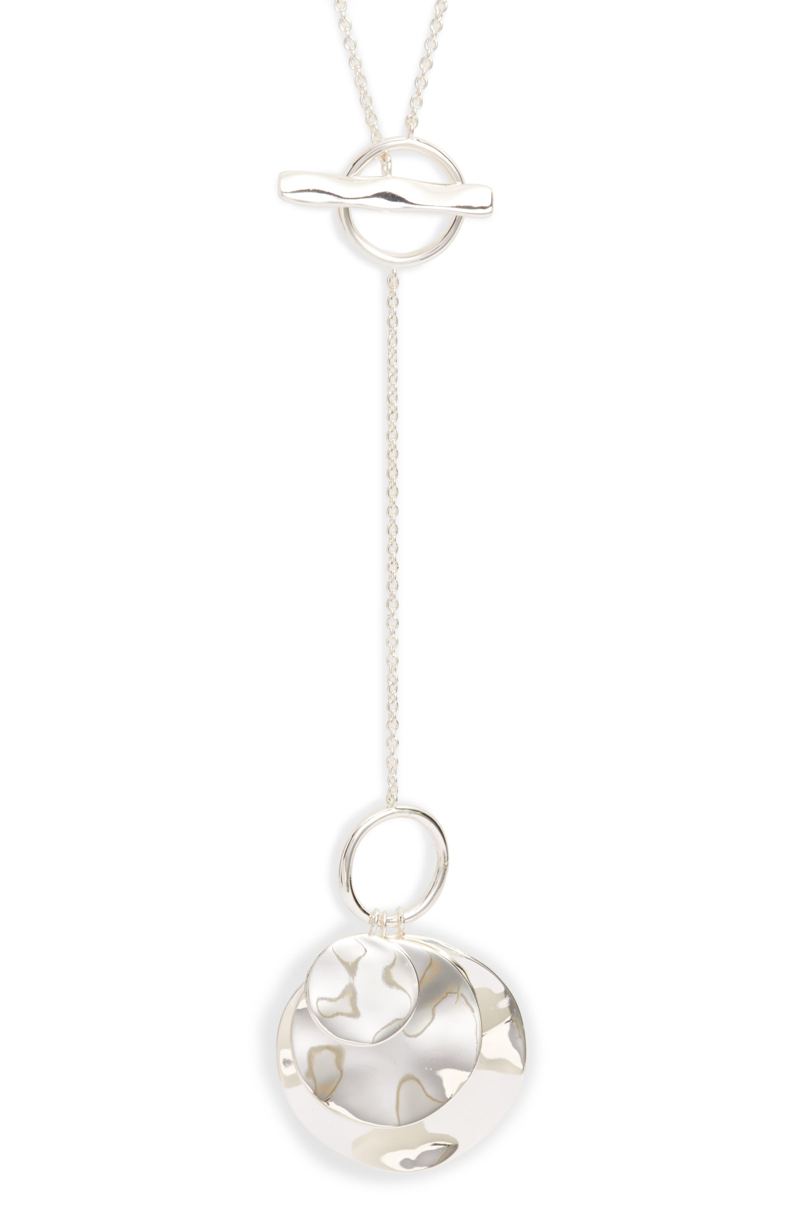 Chloe Hammered Disc Toggle Necklace,                             Alternate thumbnail 2, color,                             040