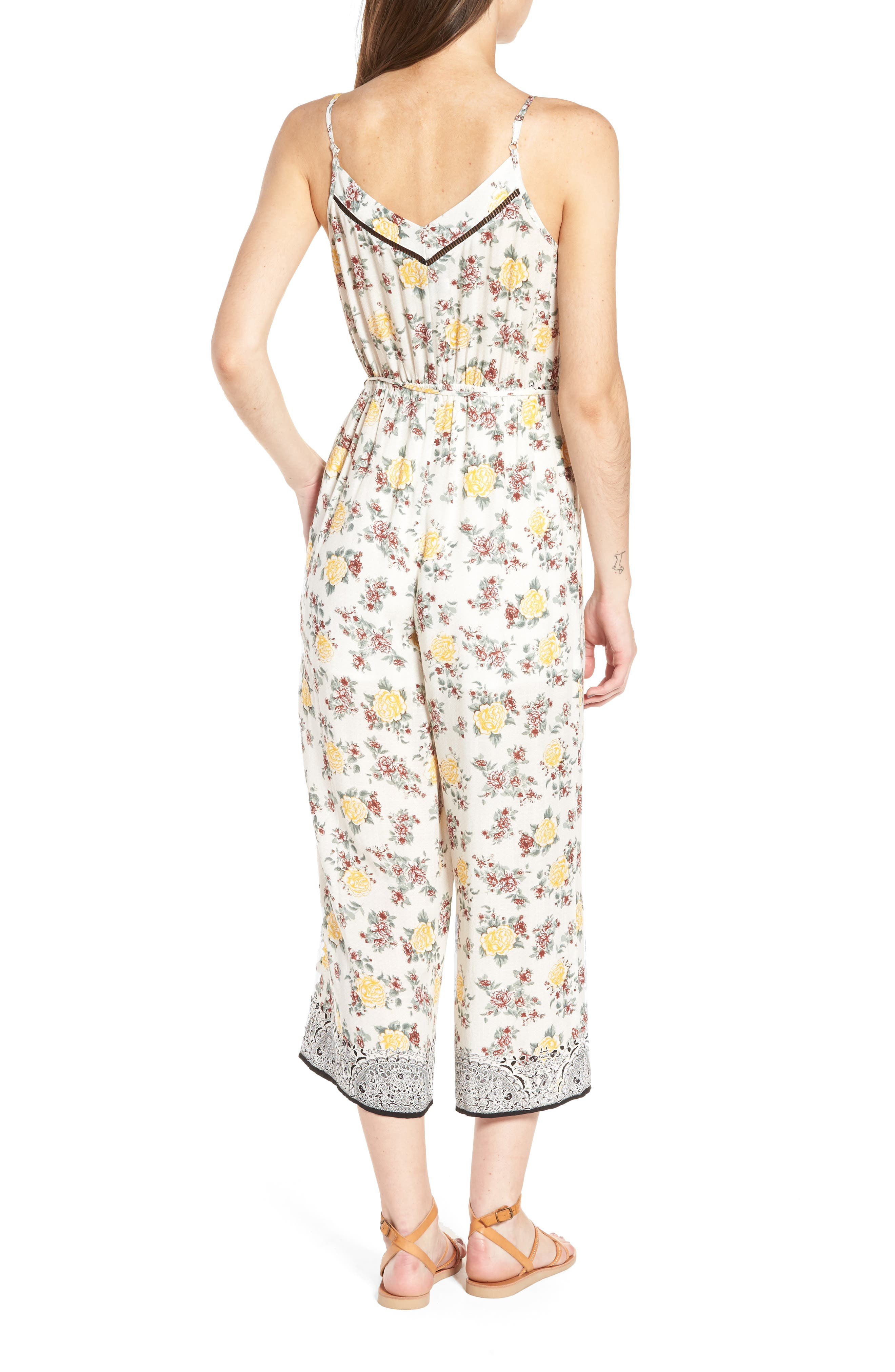 Floral Surplice Jumpsuit,                             Alternate thumbnail 2, color,