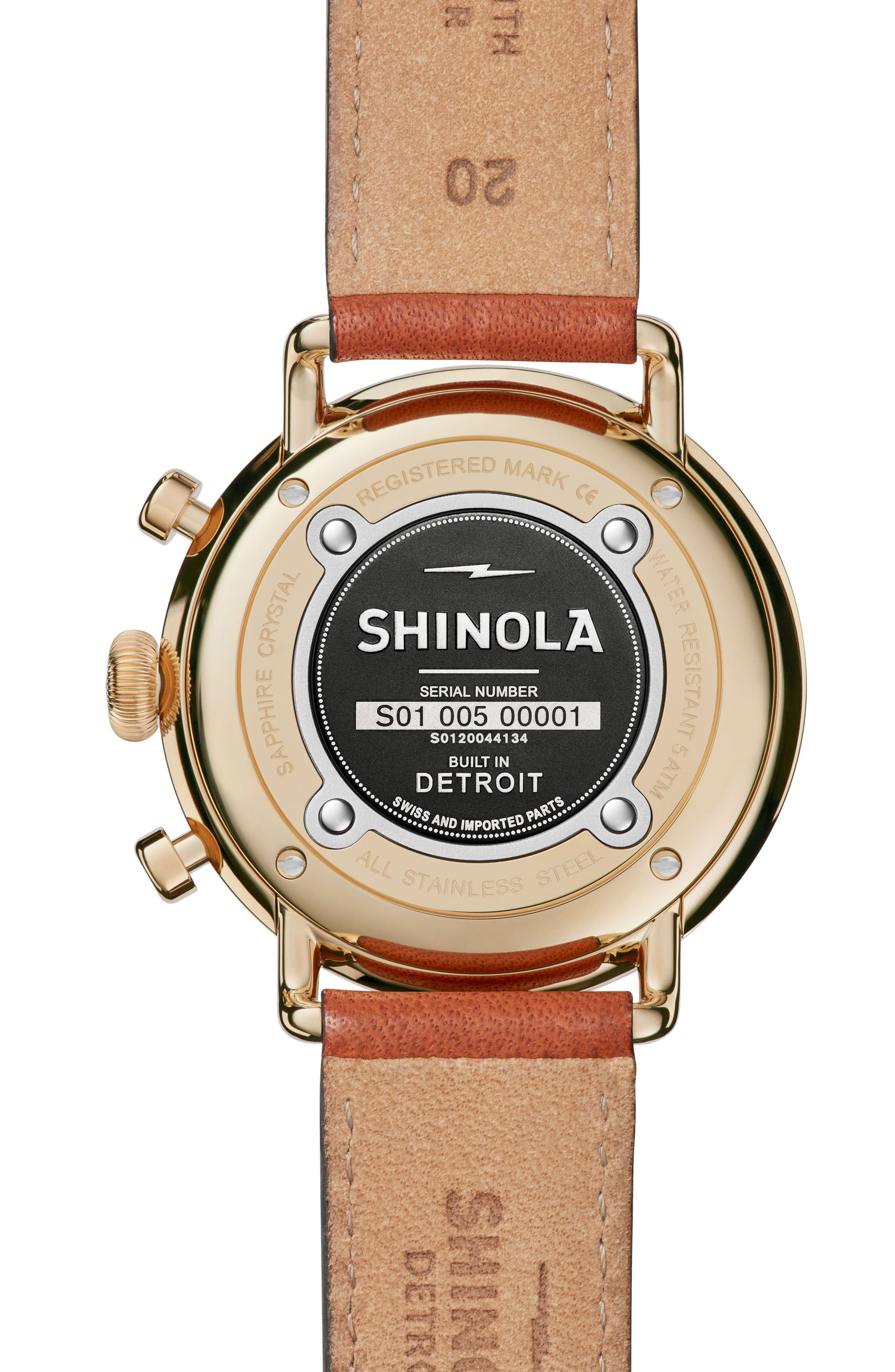 The Canfield Chrono Leather Strap Watch, 43mm,                             Alternate thumbnail 2, color,                             TAN/ WHITE/ GOLD