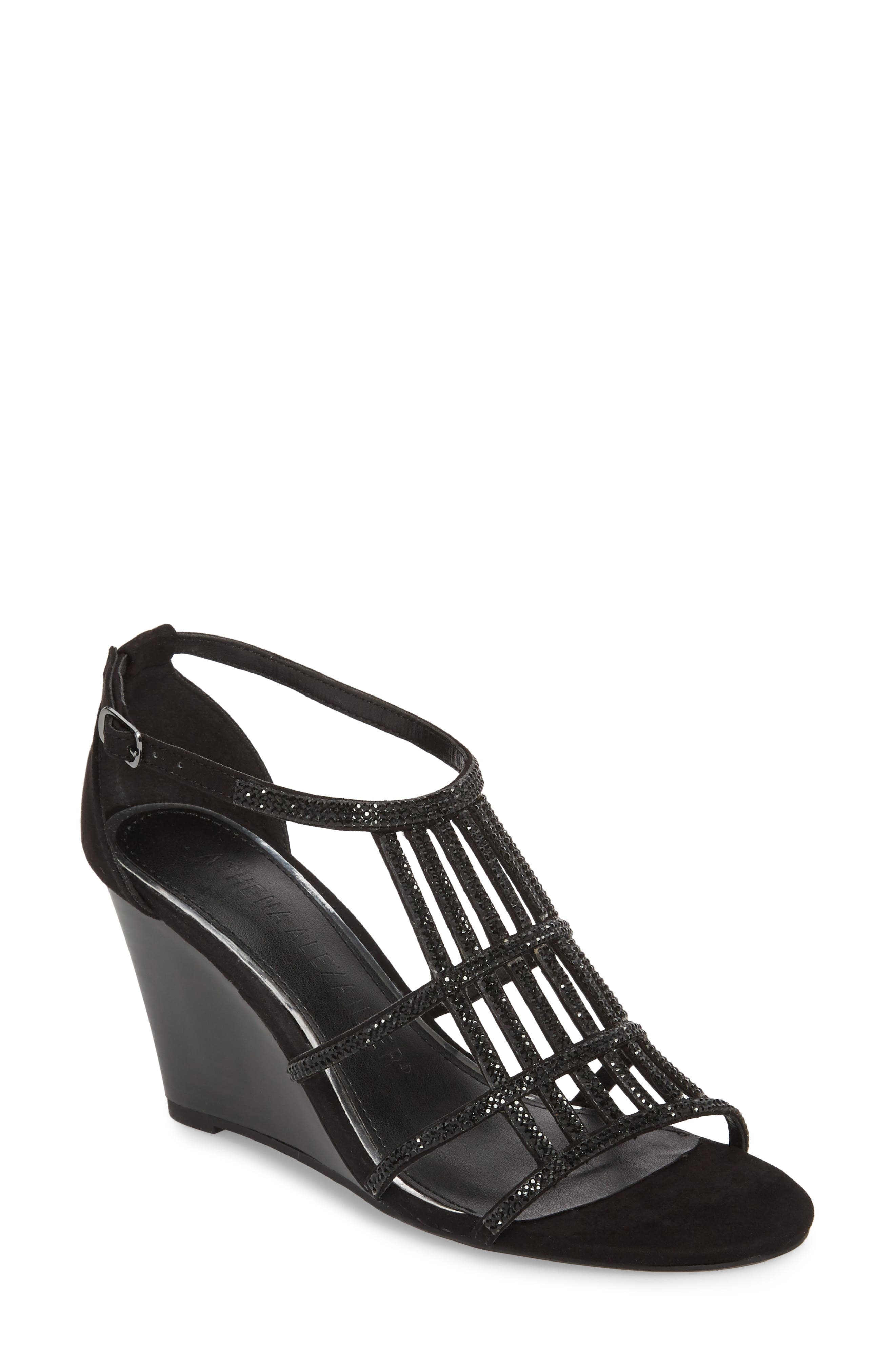 Hampton Crystal Embellished Wedge Sandal,                             Main thumbnail 1, color,                             BLACK SUEDE