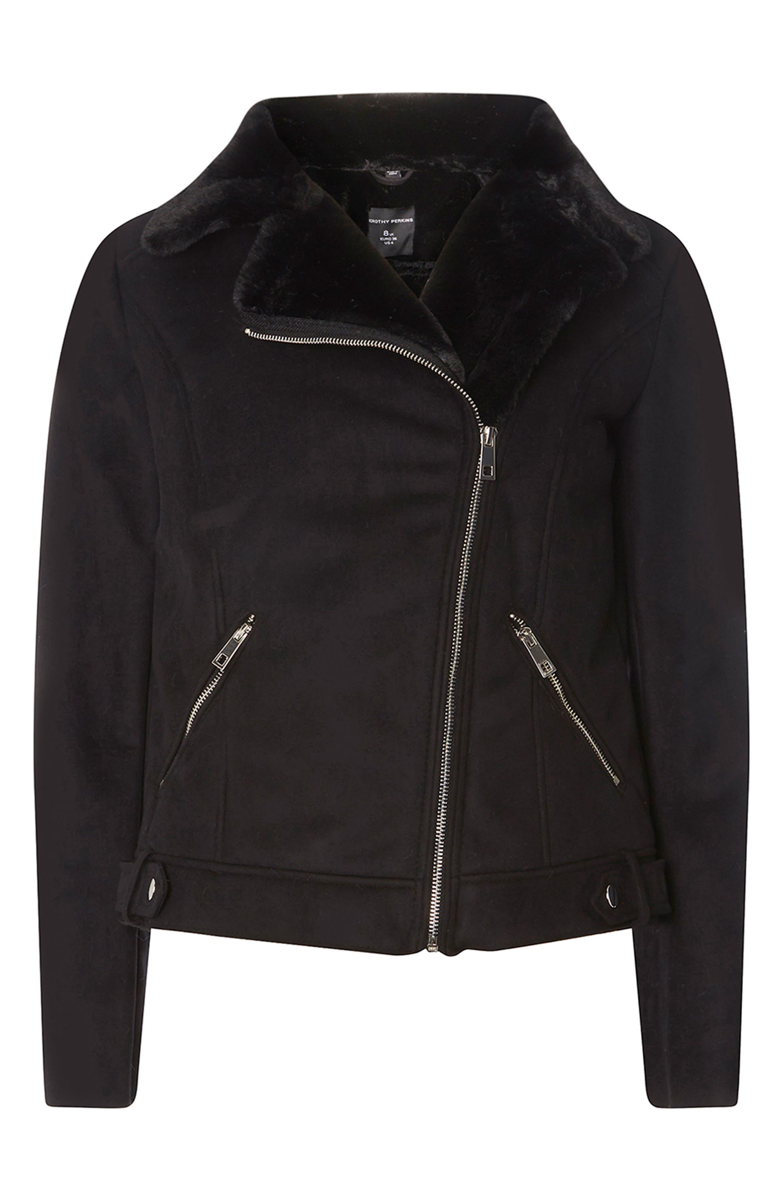 Faux Suede Biker Jacket with Faux Shearling Trim,                             Alternate thumbnail 4, color,