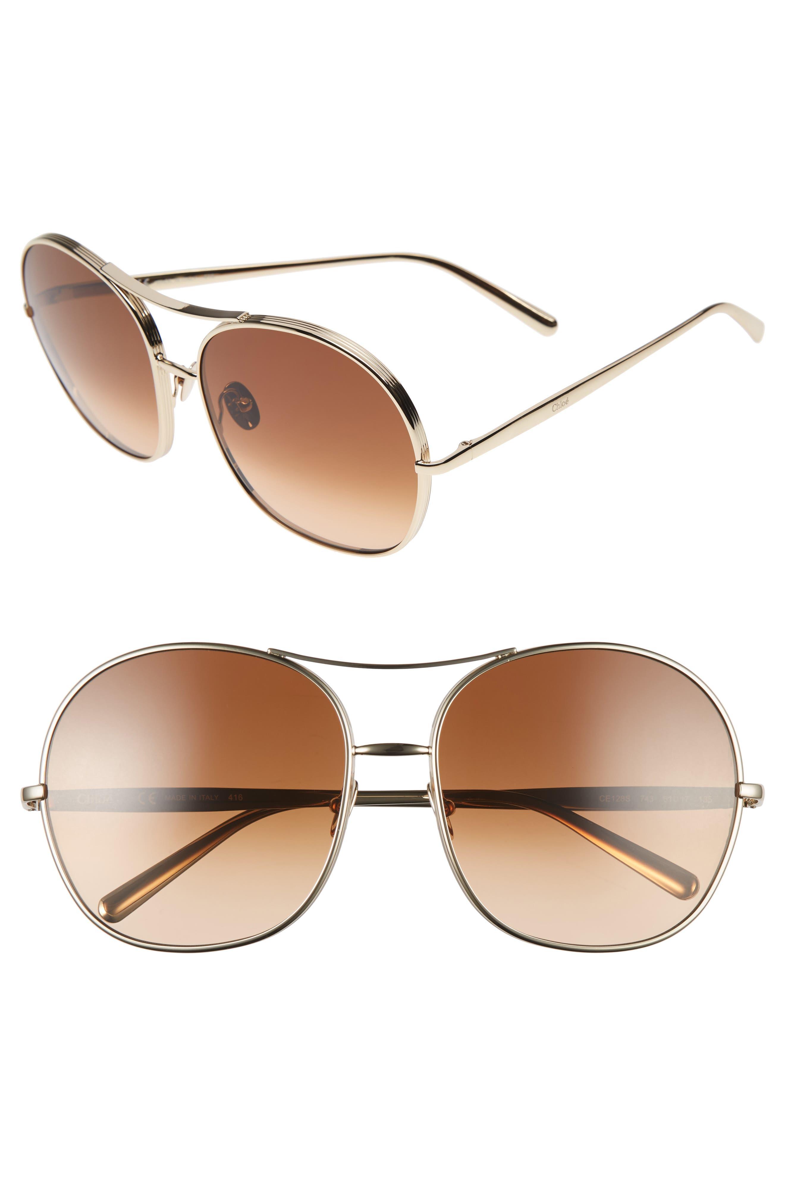 61mm Oversize Aviator Sunglasses,                             Main thumbnail 1, color,                             710