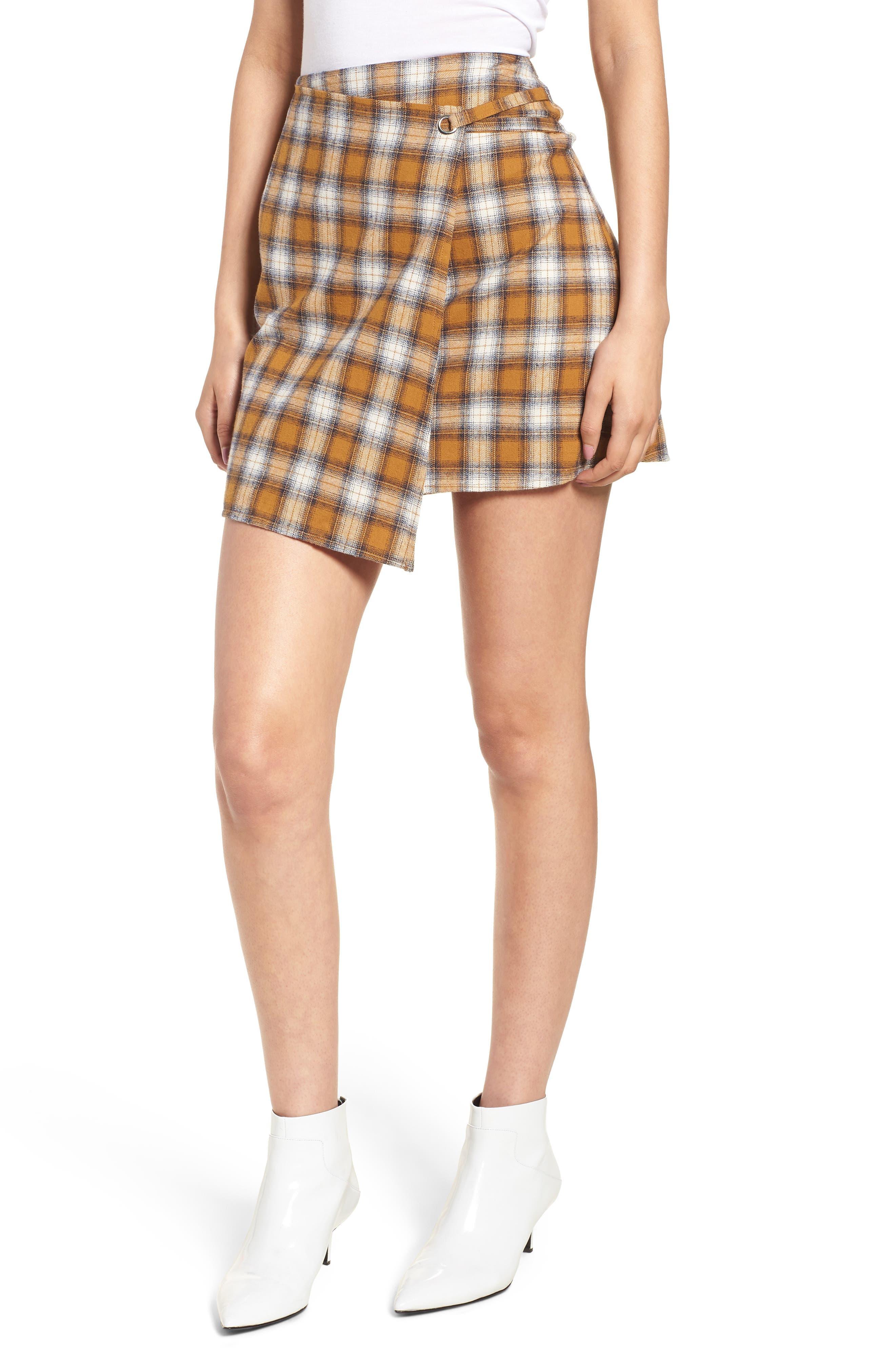 Plaid Wrap Panel Skirt,                             Main thumbnail 1, color,                             700