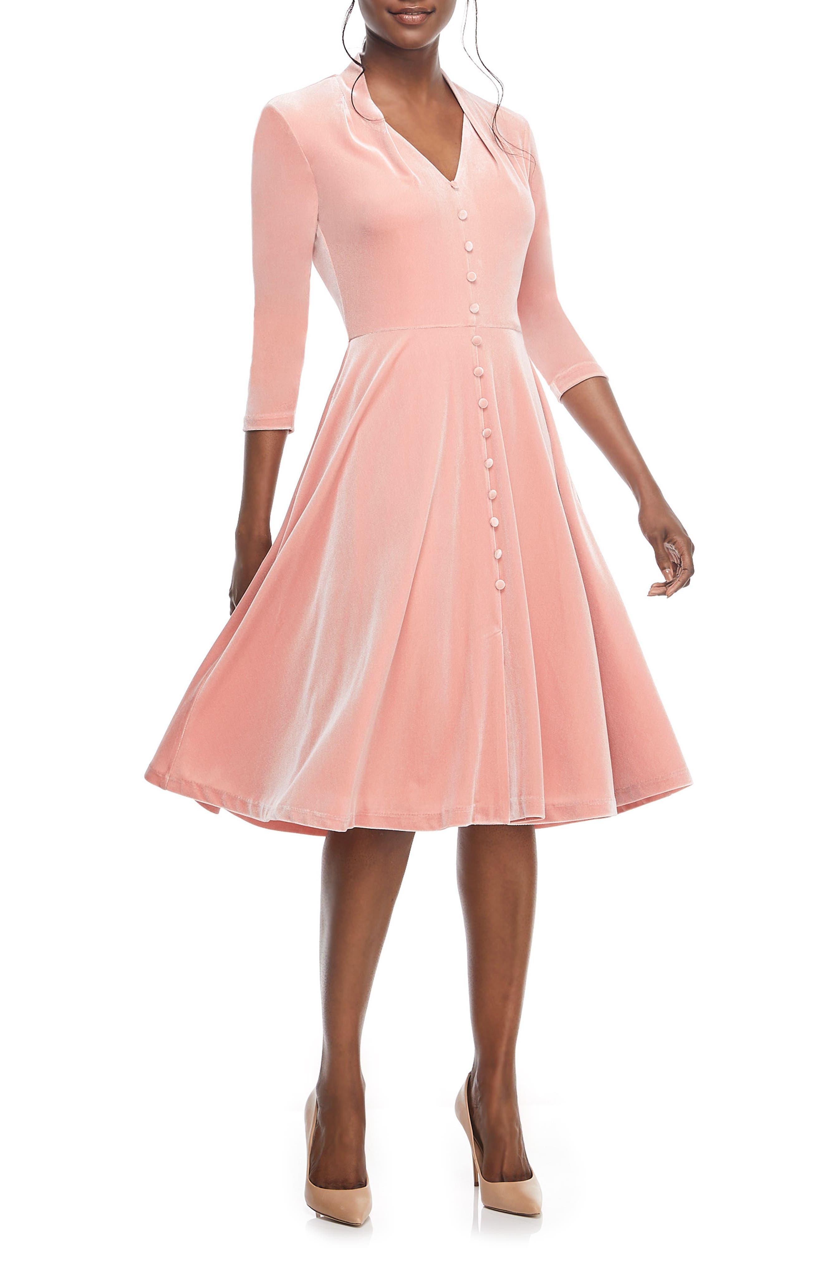 Joy Button Front Velvet Dress,                             Alternate thumbnail 3, color,                             PINK