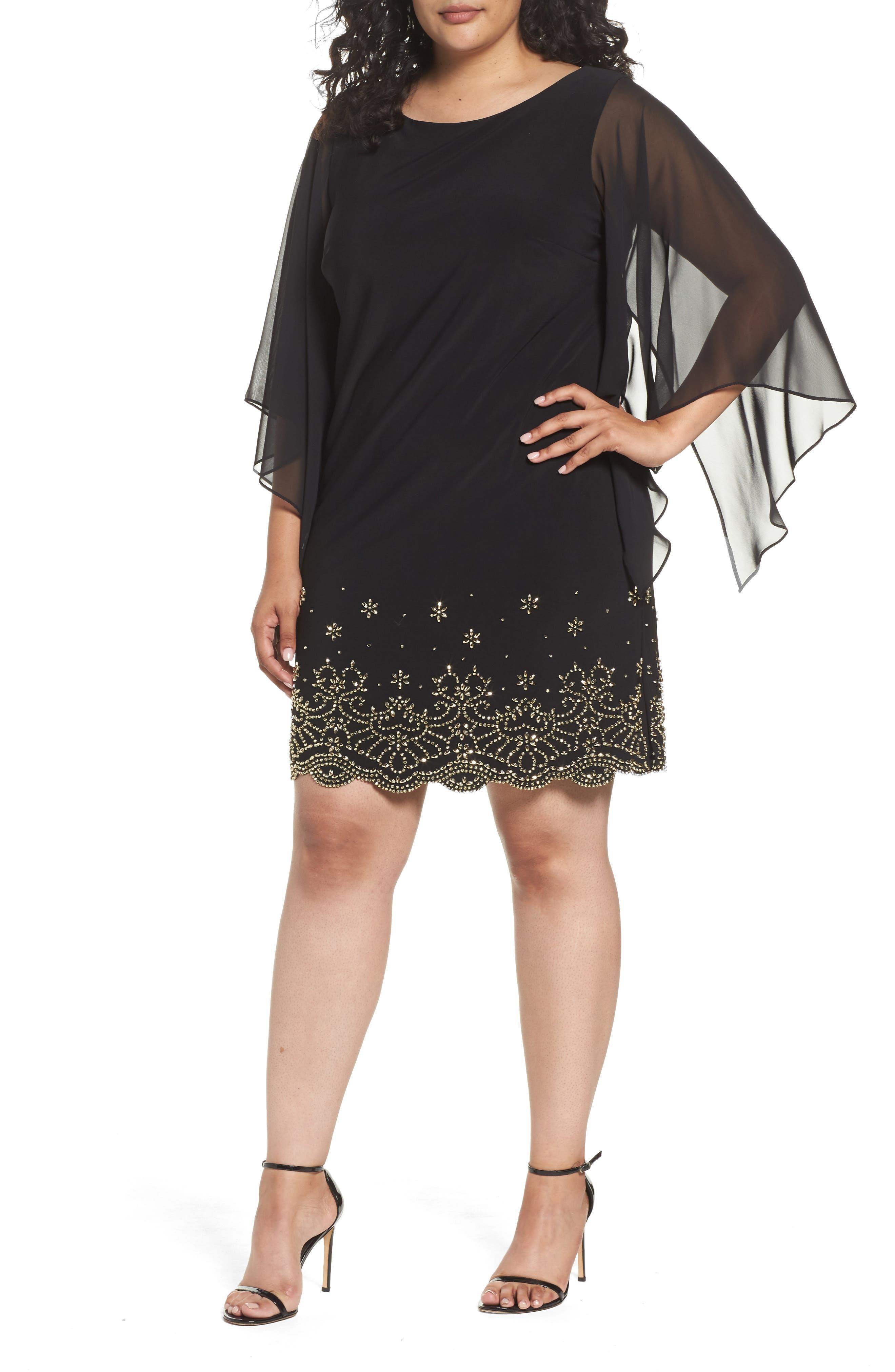 Plus Size Xscape Embellished Chiffon Shift Dress, Black