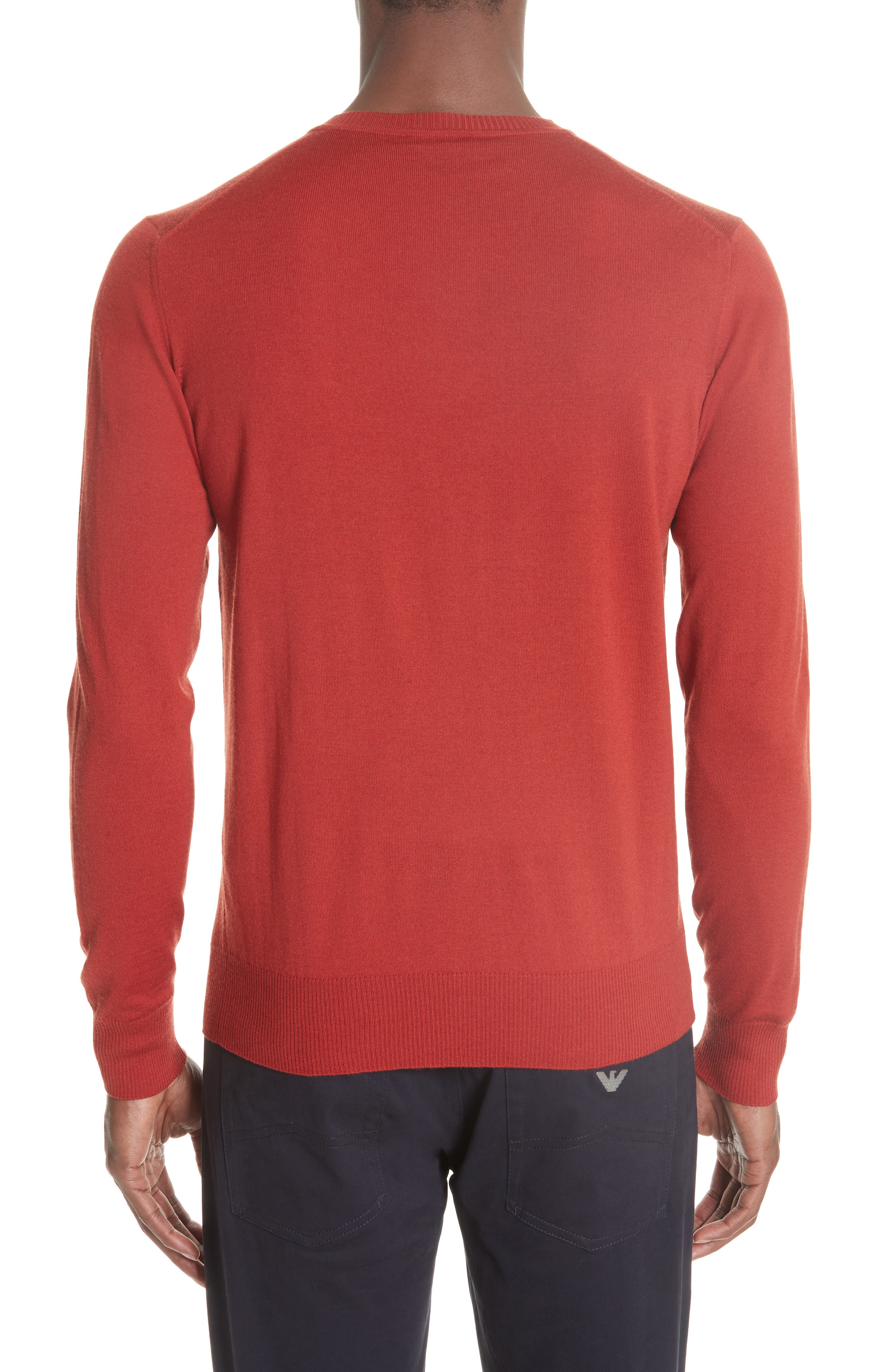 V-Neck Wool Sweater,                             Alternate thumbnail 2, color,                             RED