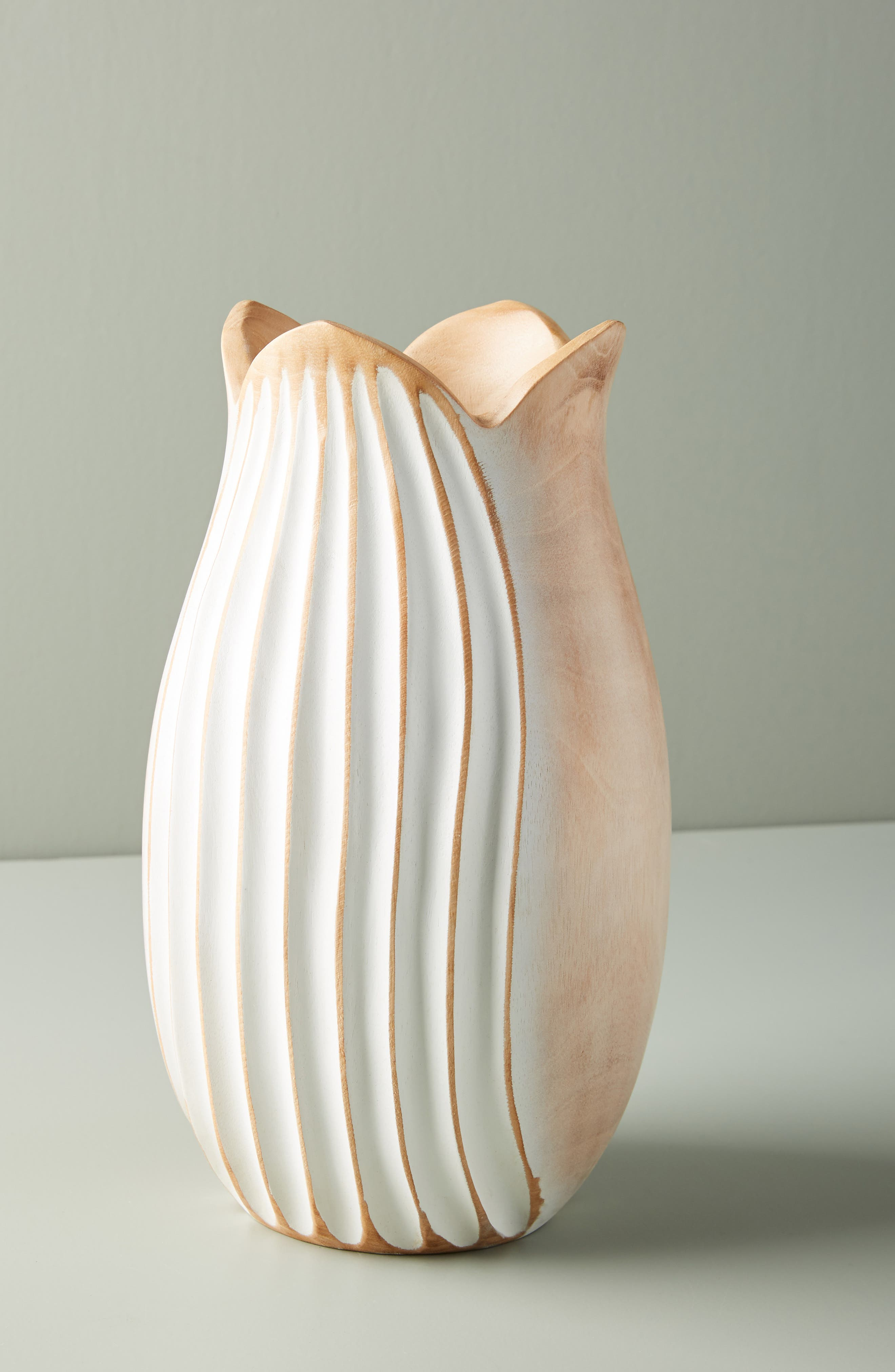 Medium Lotus Mango Wood Vase,                         Main,                         color, WHITE