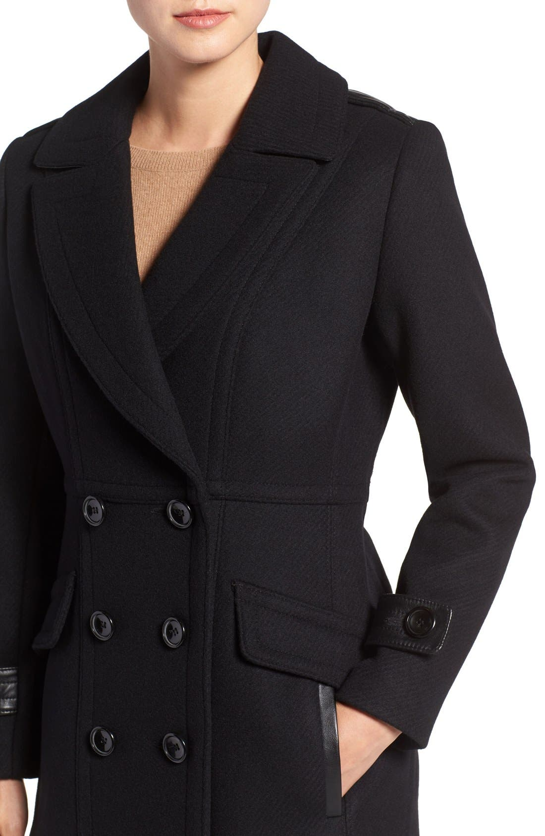 'Chloe' Wool Blend Peacoat,                             Alternate thumbnail 4, color,                             001