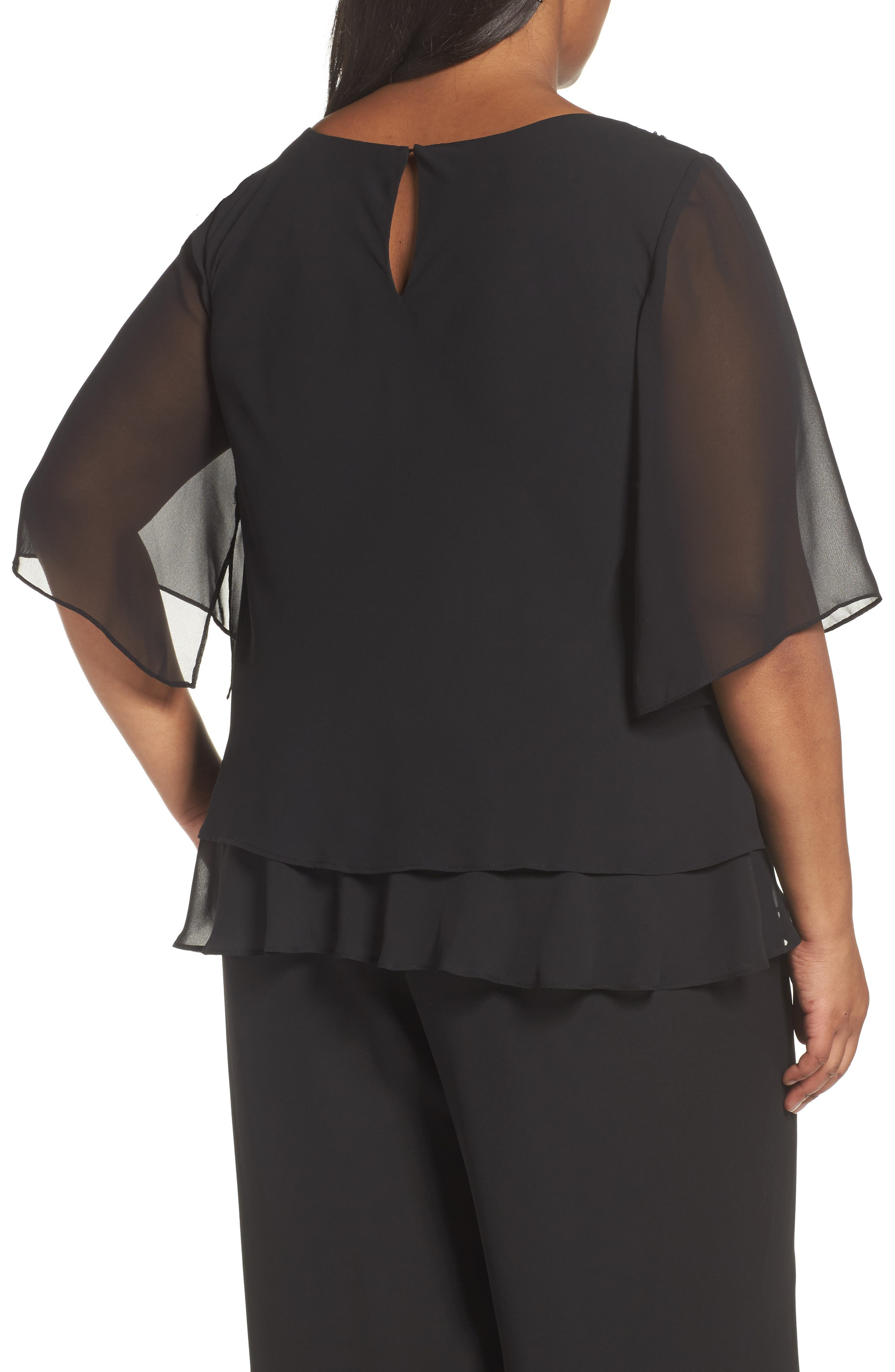 Embellished Tiered Chiffon Blouse,                             Alternate thumbnail 2, color,                             001