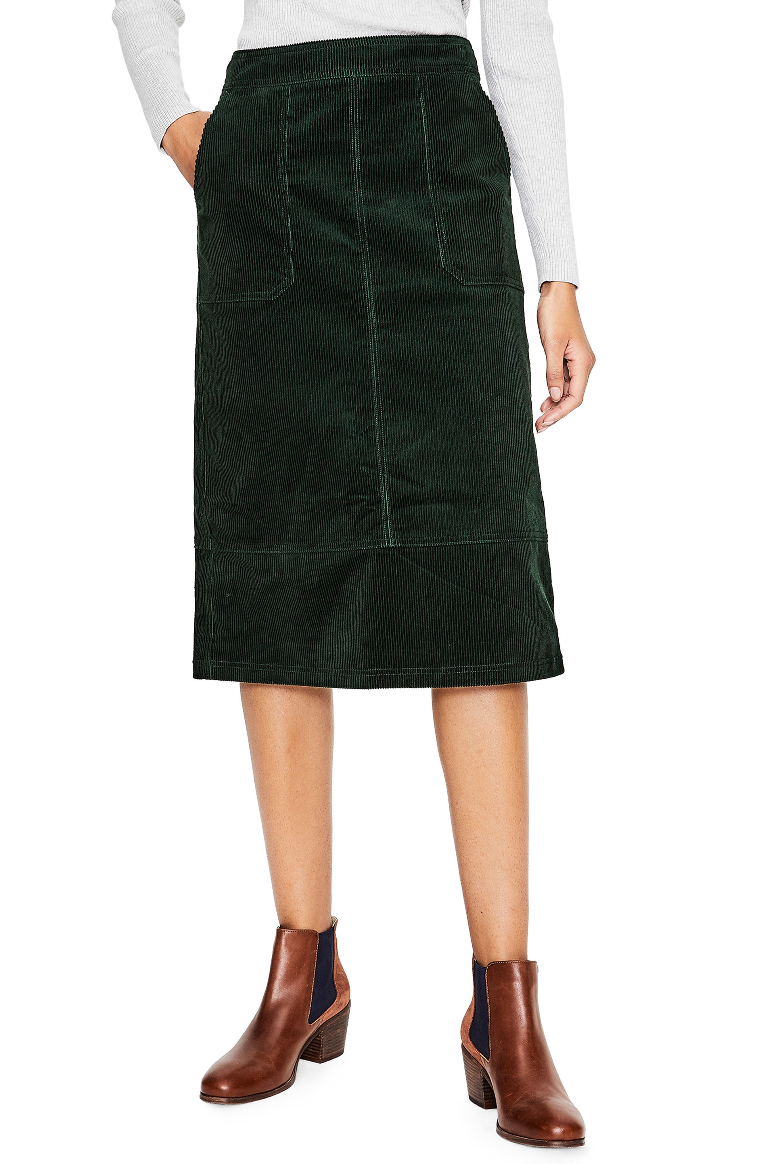 Patch Pocket Corduroy Midi Skirt,                             Main thumbnail 1, color,                             CHATSWORTH GREEN