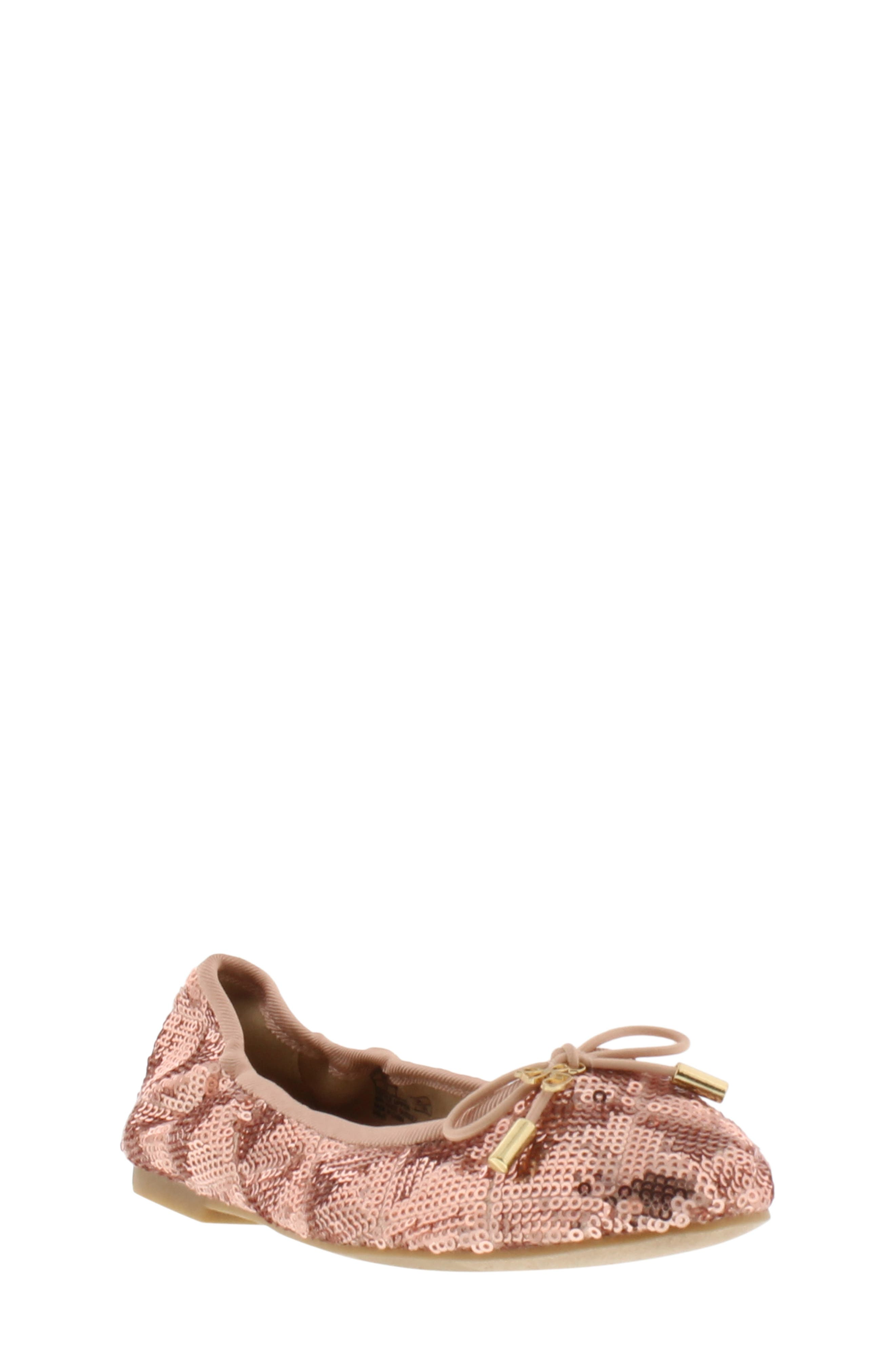 Felicia Sequin Ballet Flat,                             Main thumbnail 1, color,                             ROSE GOLD
