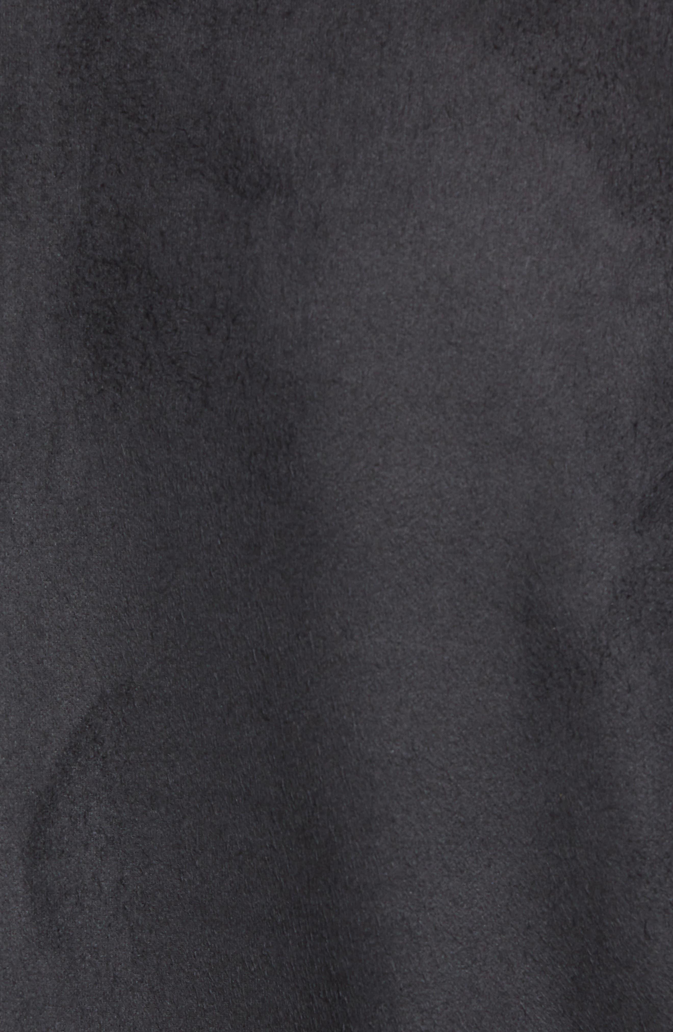 Faux Suede Bomber Jacket,                             Alternate thumbnail 6, color,                             BLACK