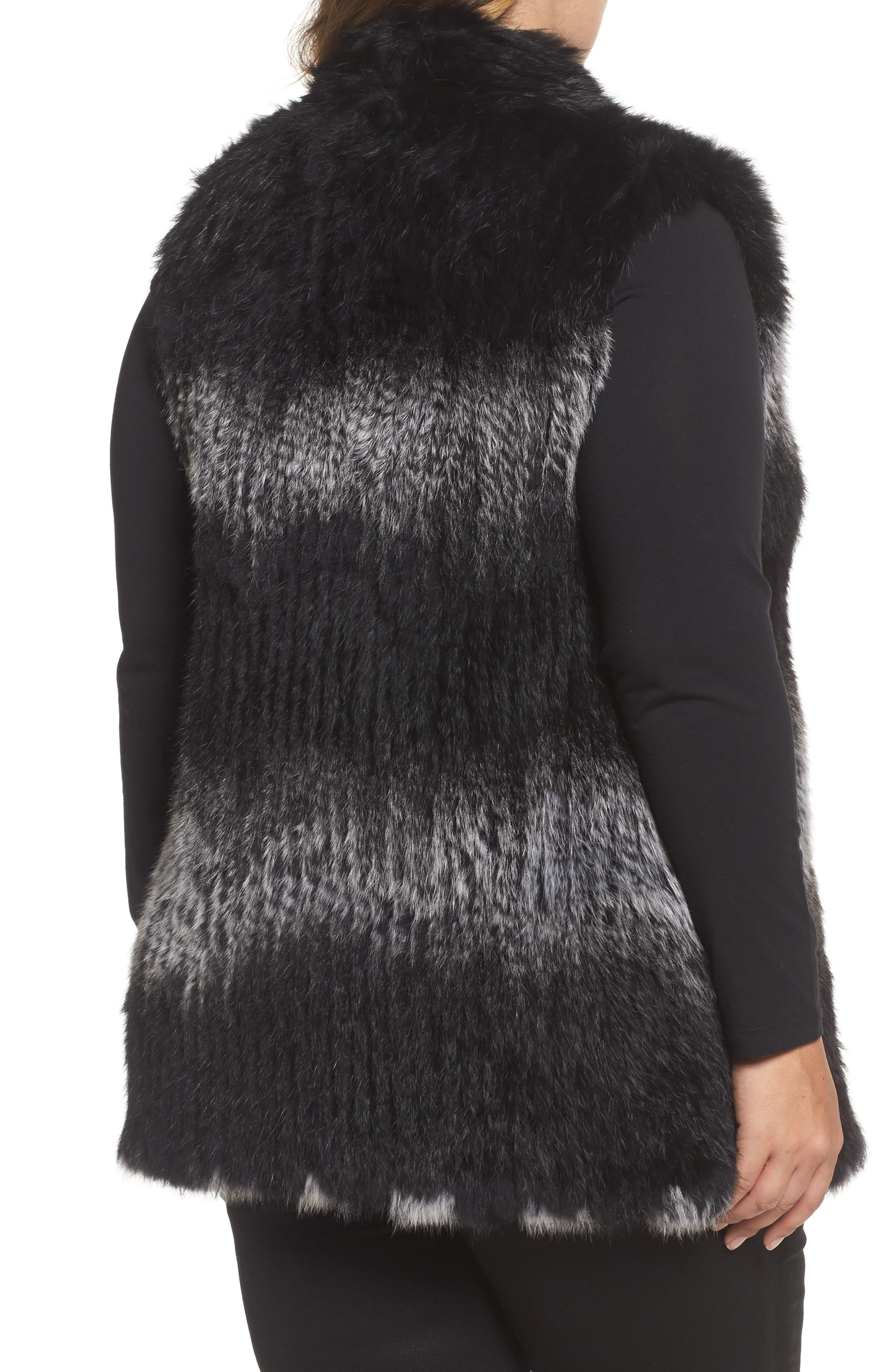 Genuine Rabbit Fur Vest,                             Alternate thumbnail 3, color,