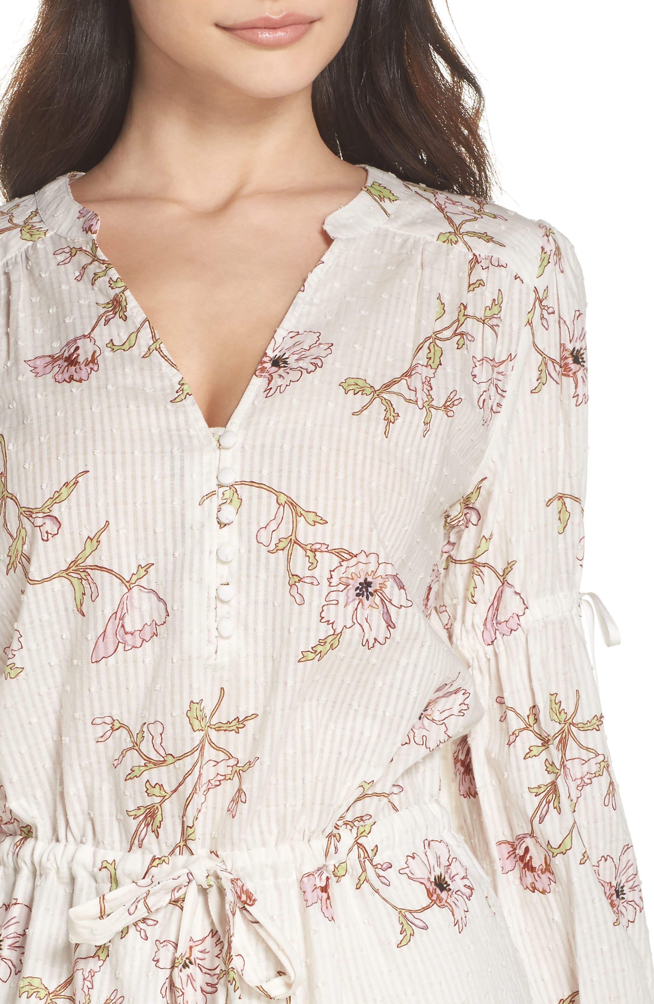 Yardley Floral Minidress,                             Alternate thumbnail 4, color,                             WHITE / MAUVE SHADOWS