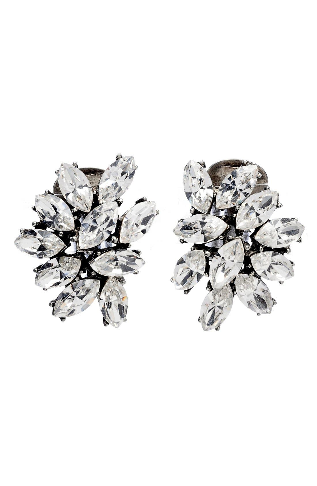 Swarovski Crystal Cluster Clip Earrings,                             Main thumbnail 1, color,                             SILVER
