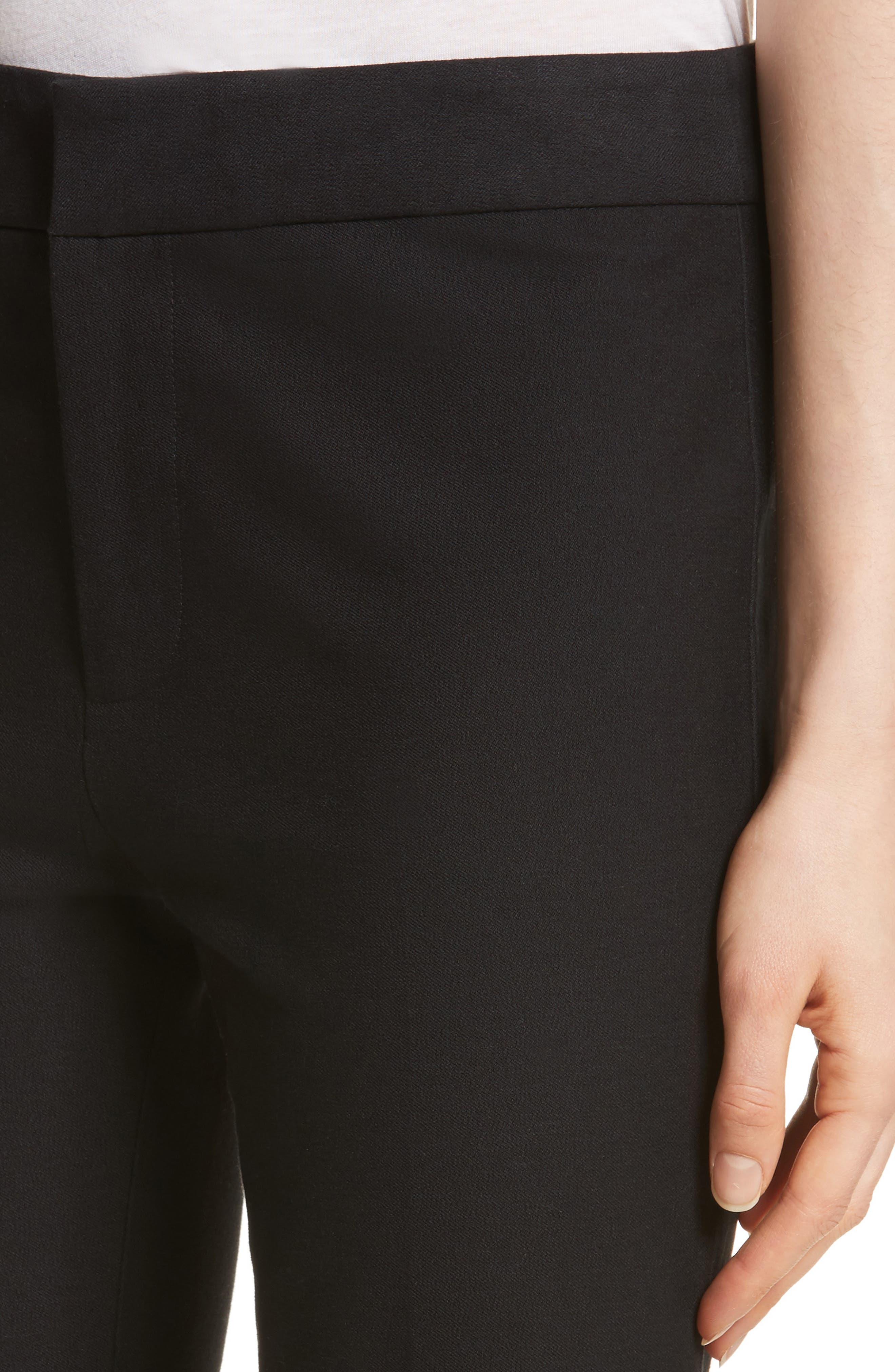 Flare Leg Stretch Cotton Pants,                             Alternate thumbnail 4, color,                             001