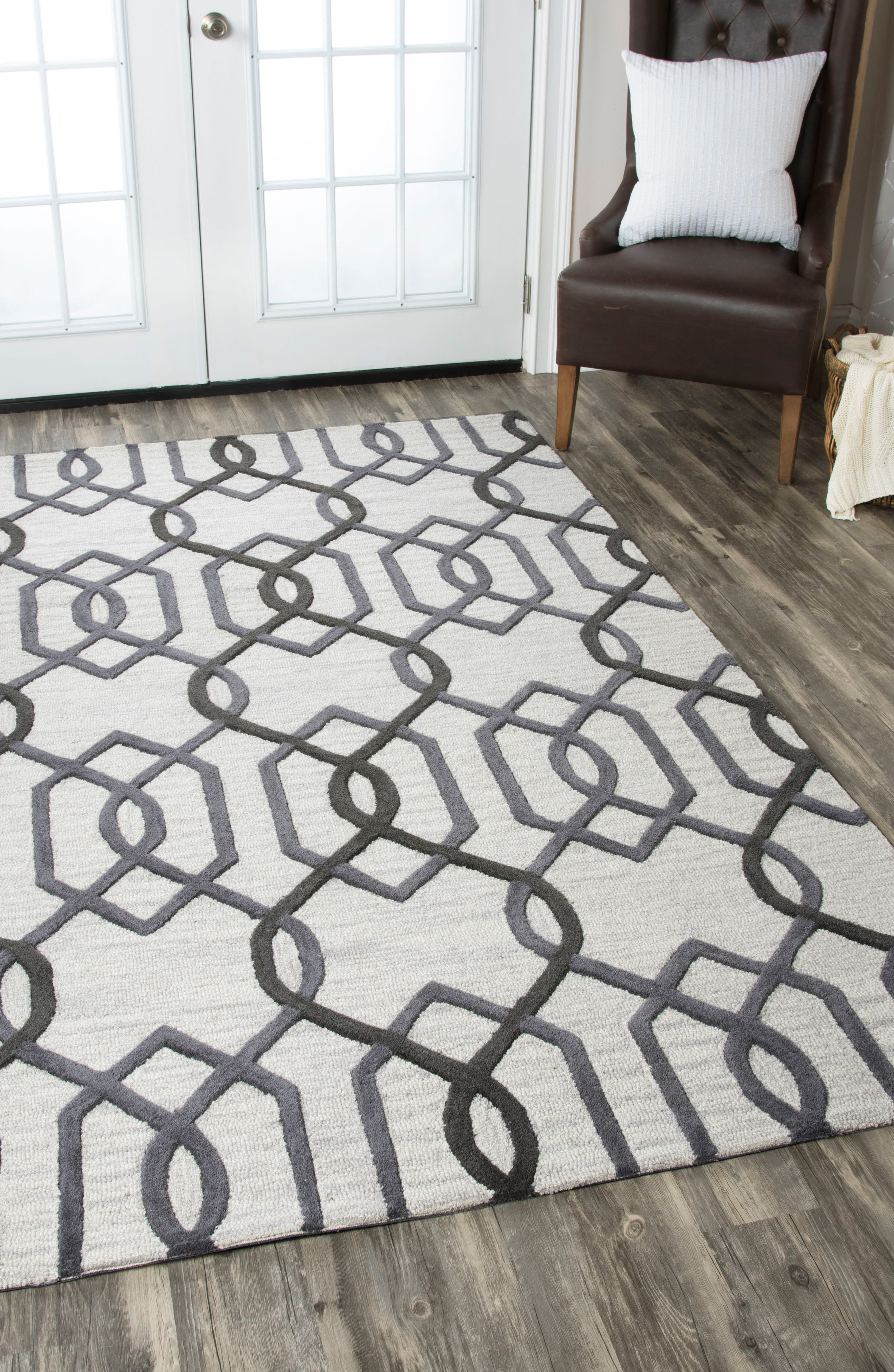 'Caterine Lines' Hand Tufted Wool Area Rug,                             Alternate thumbnail 2, color,                             020