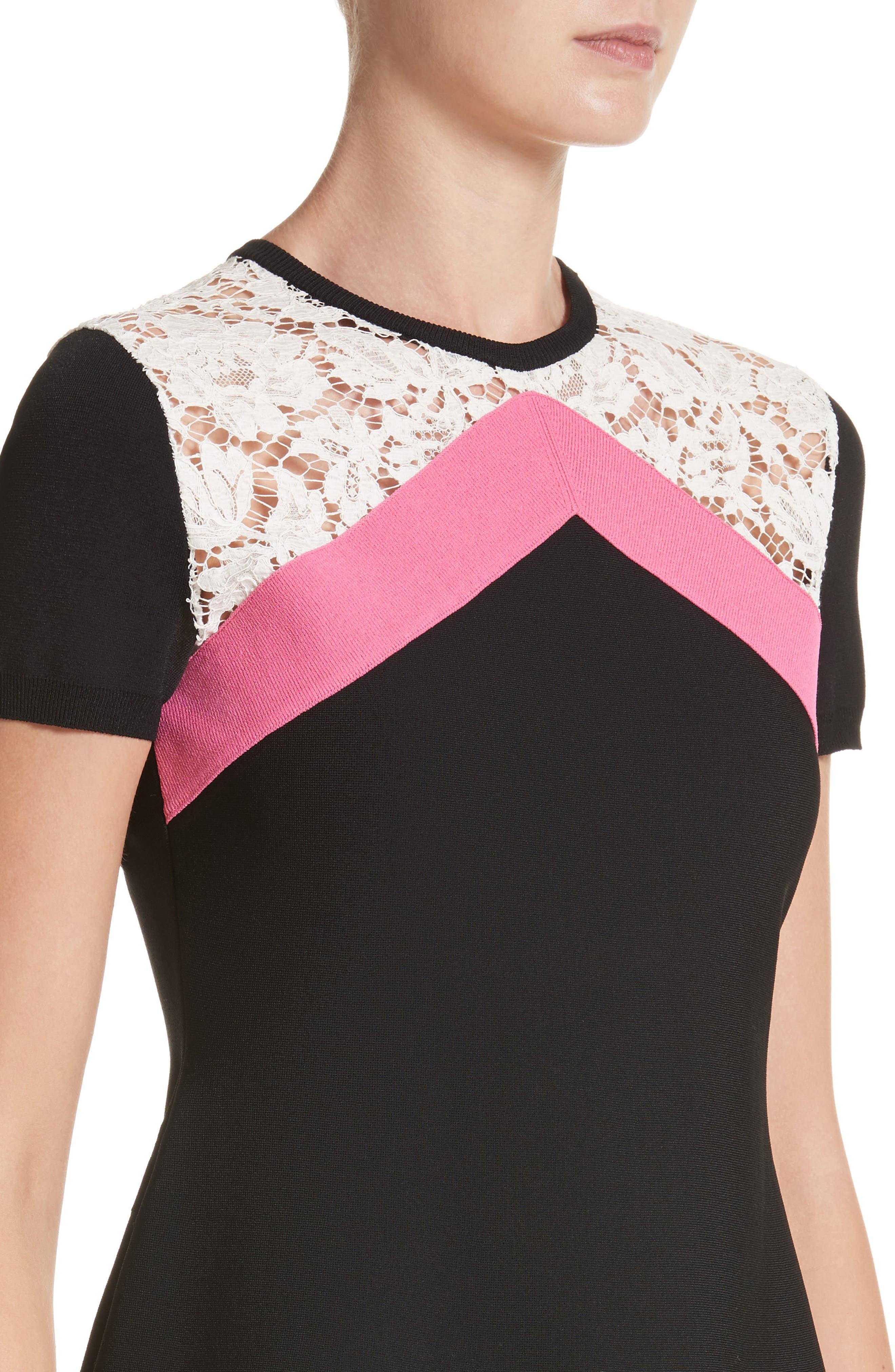 Chevron Lace Knit Dress,                             Alternate thumbnail 4, color,                             001