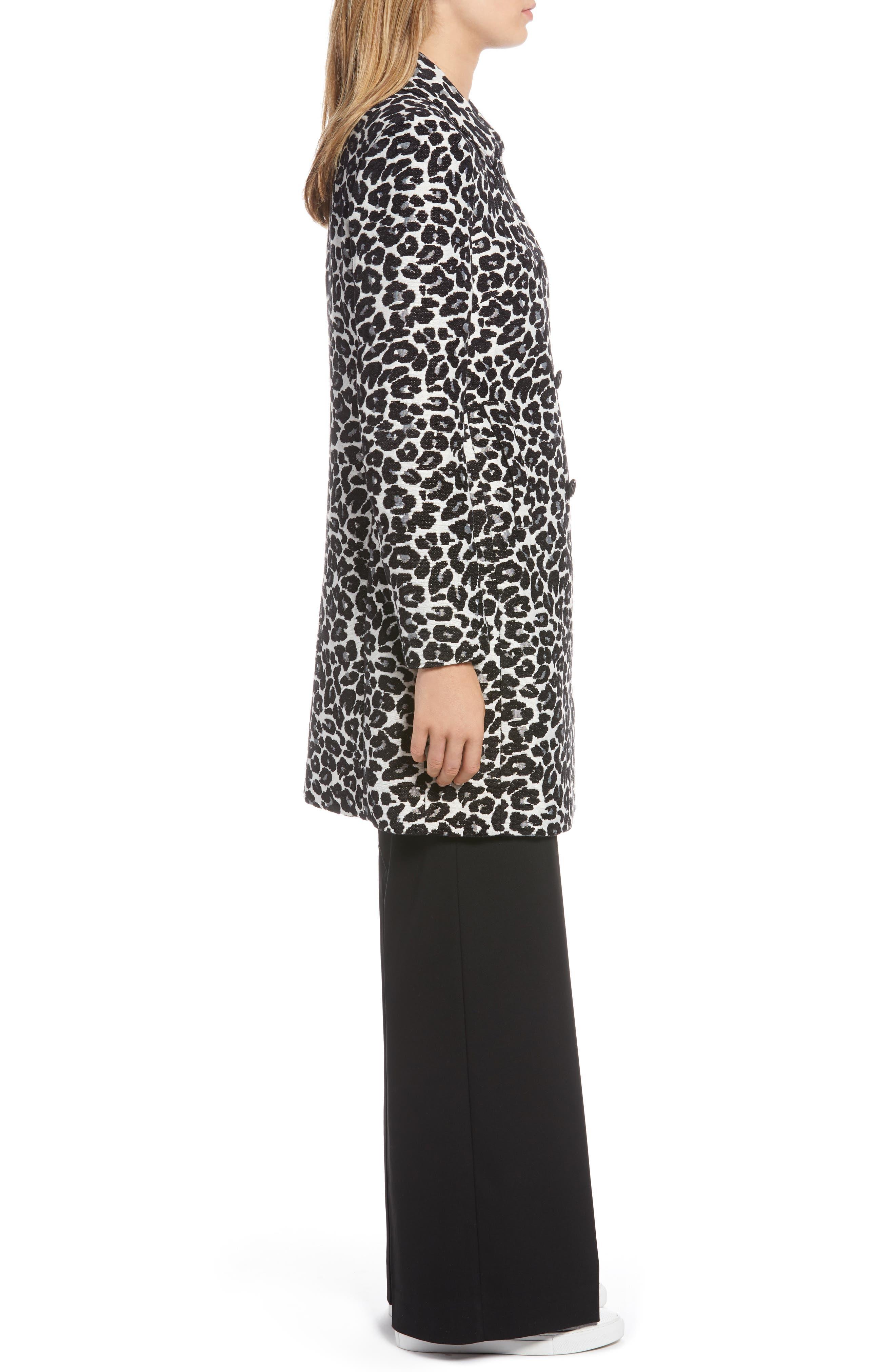 Leopard Coat,                             Alternate thumbnail 3, color,                             BLACK- WHITE LEOPARD