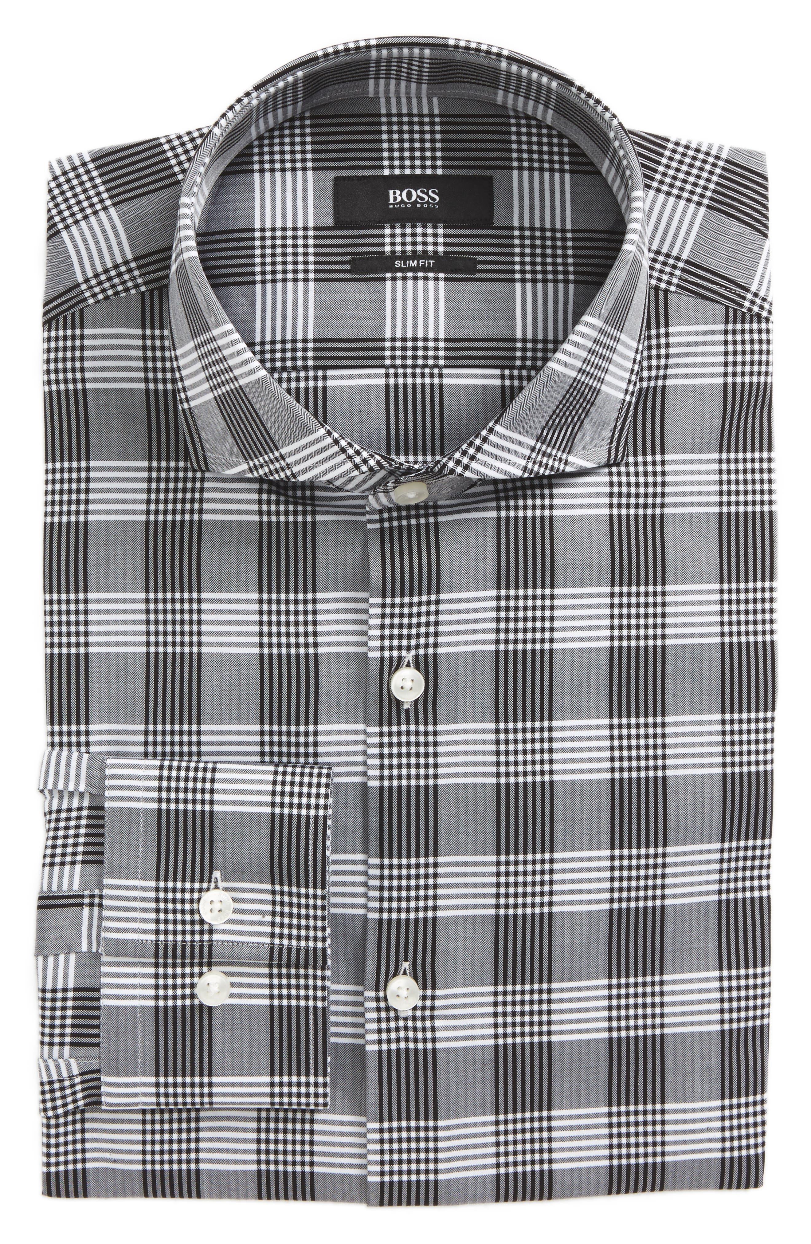 Jason Slim Fit Plaid Dress Shirt,                         Main,                         color, 020
