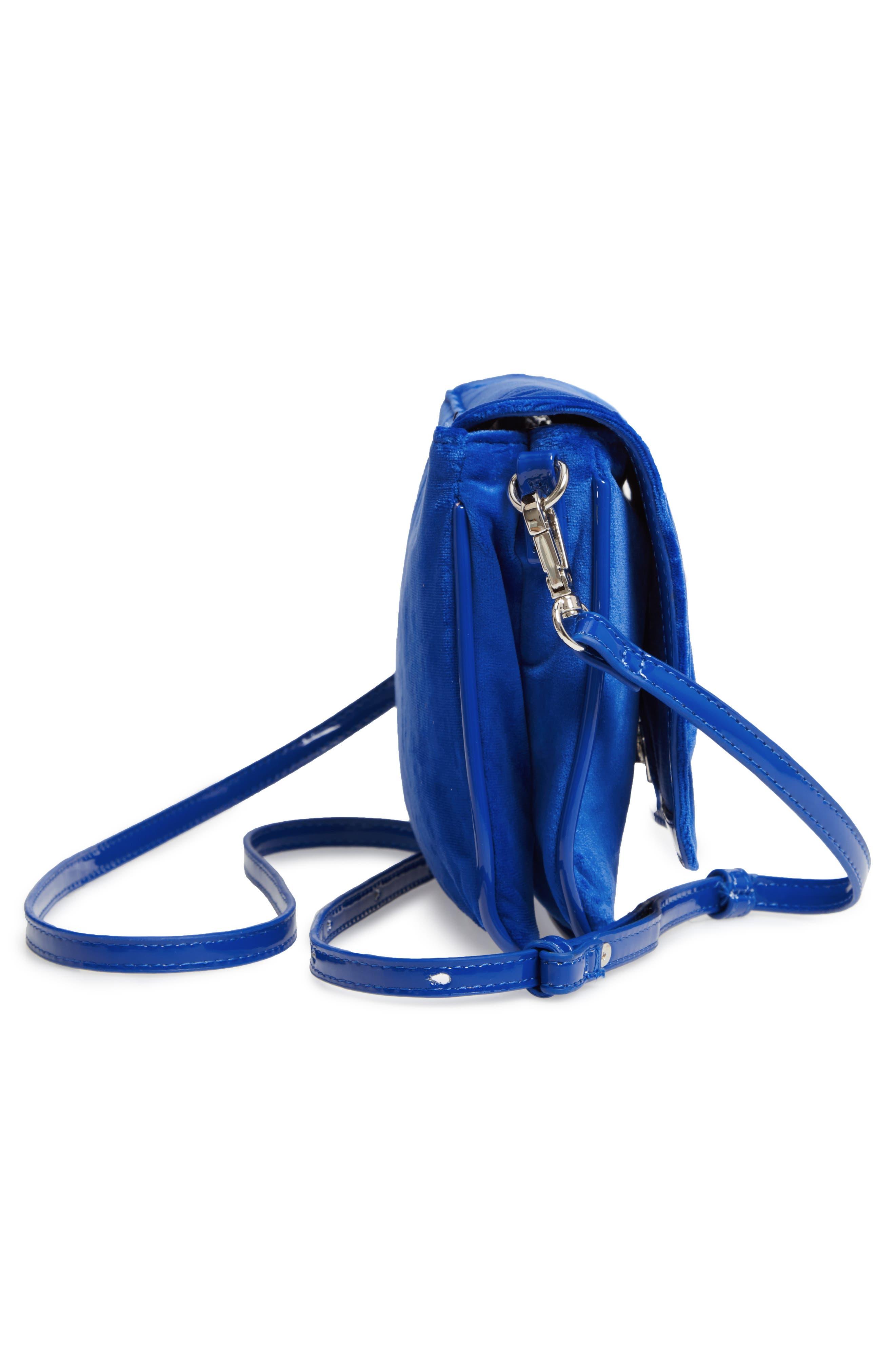 Velvet Crossbody Bag,                             Alternate thumbnail 5, color,                             BLUE