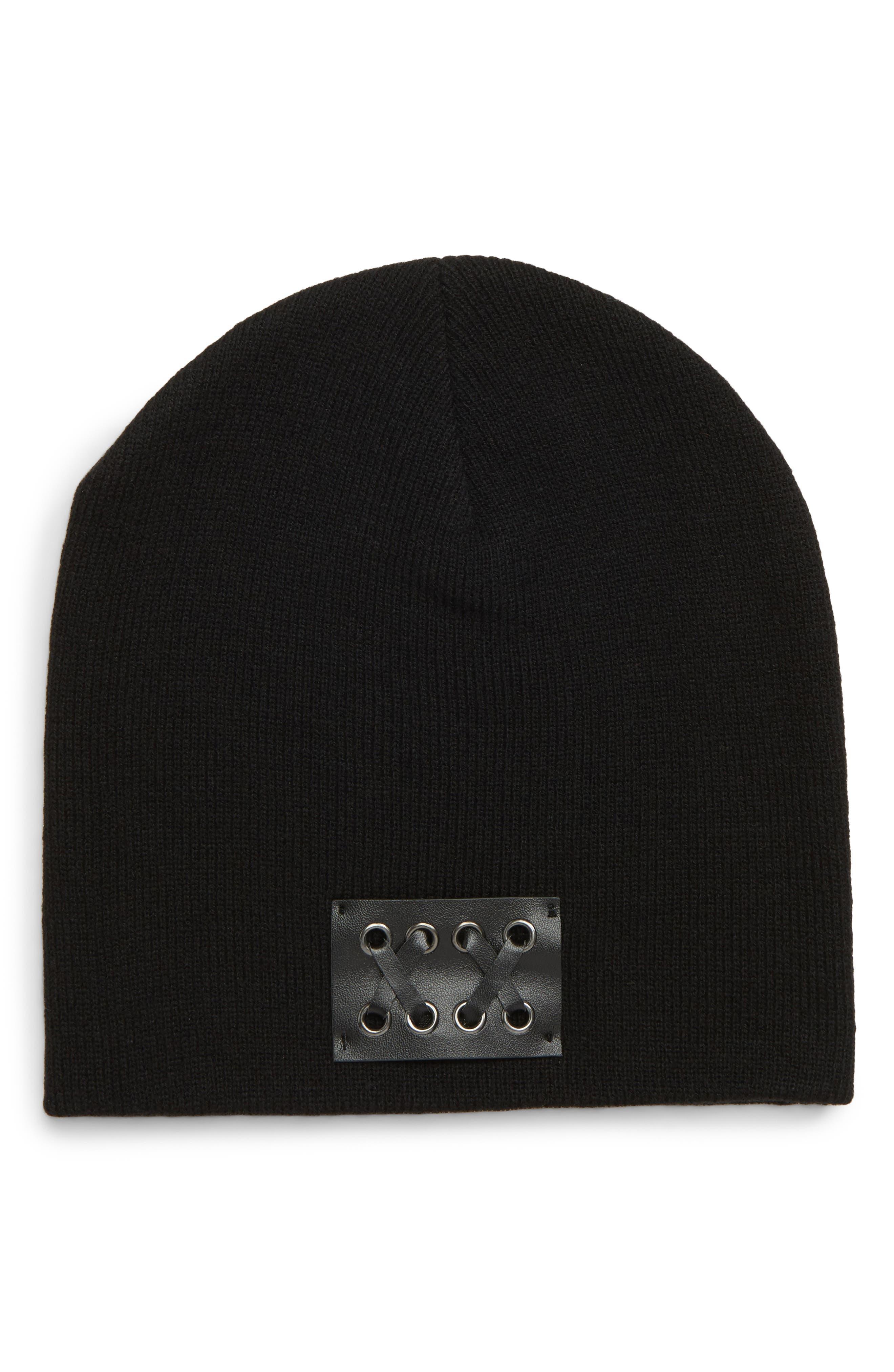 Faux Leather Patch Knit Beanie,                             Main thumbnail 1, color,                             BLACK