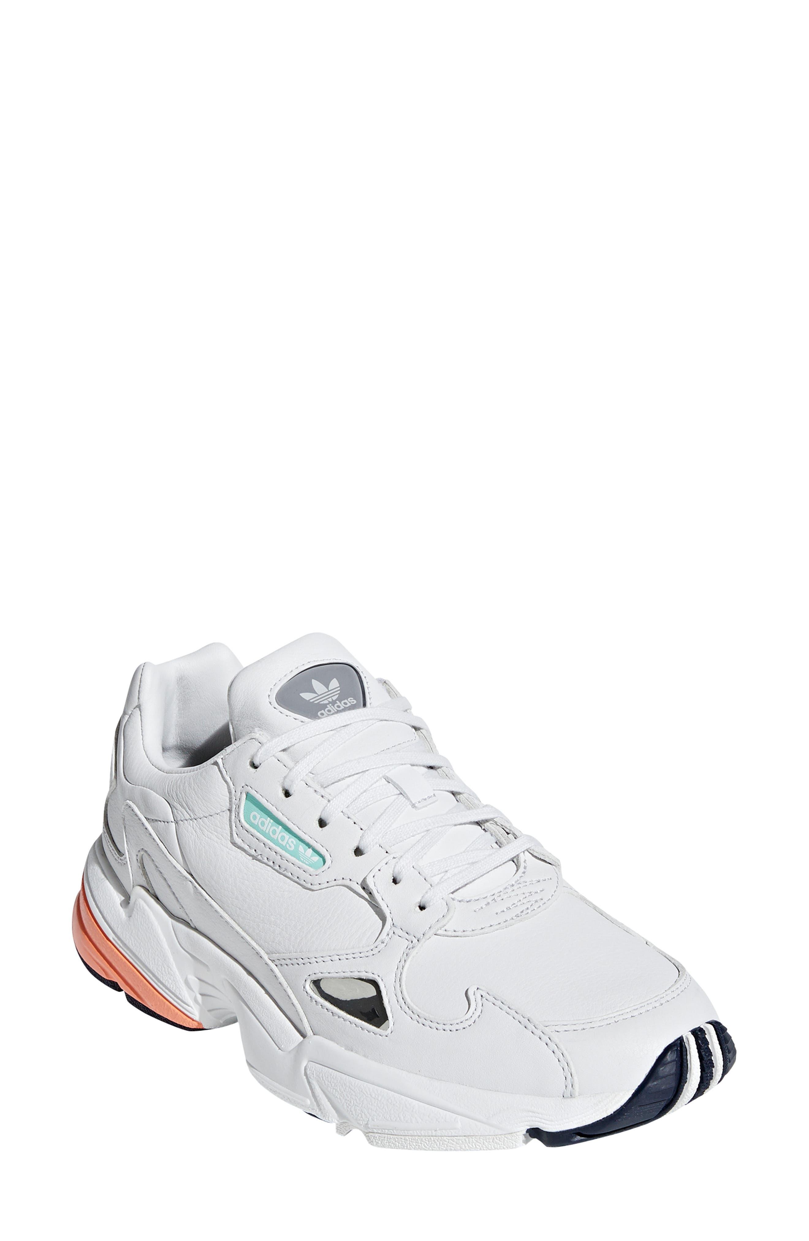 Falcon Sneaker,                         Main,                         color, CRYSTAL WHITE/ EASY ORANGE